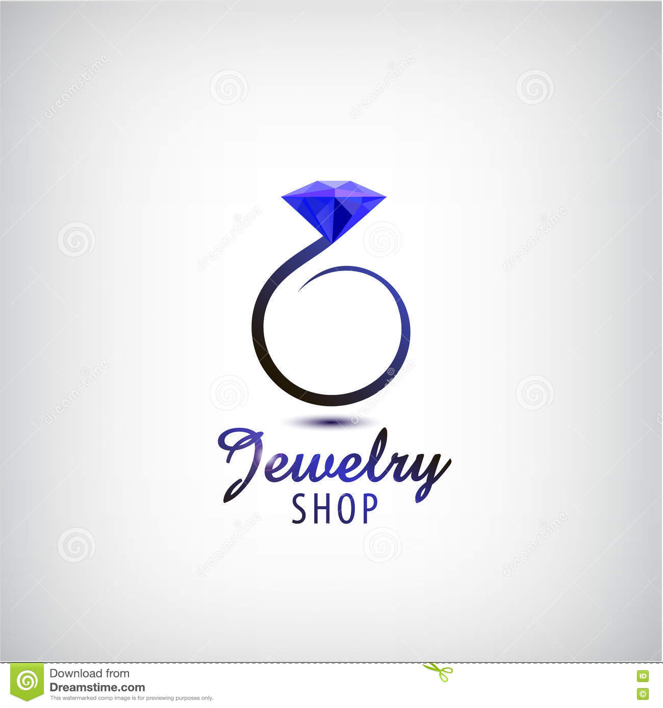 Vector jewelry logo design template. Circle ring with blue stone, crystal.