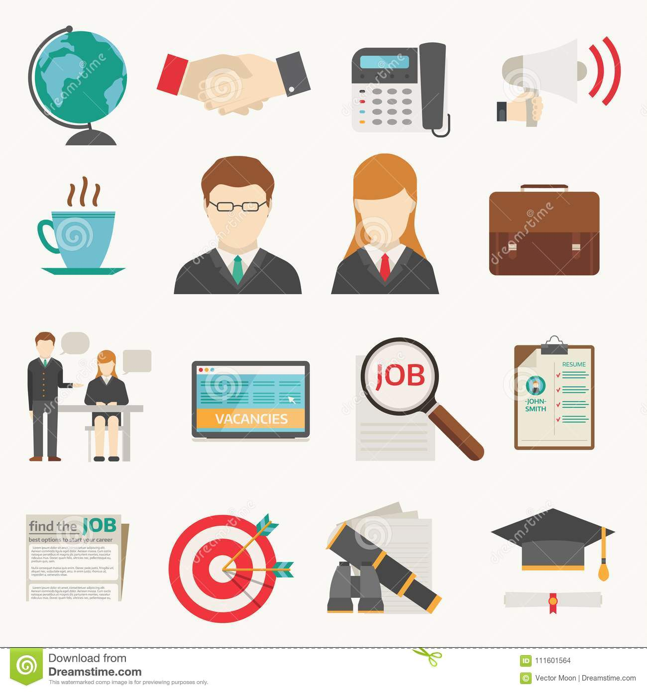 Vector job search icon set computer office concept human recruitment employment work job search icons team meeting