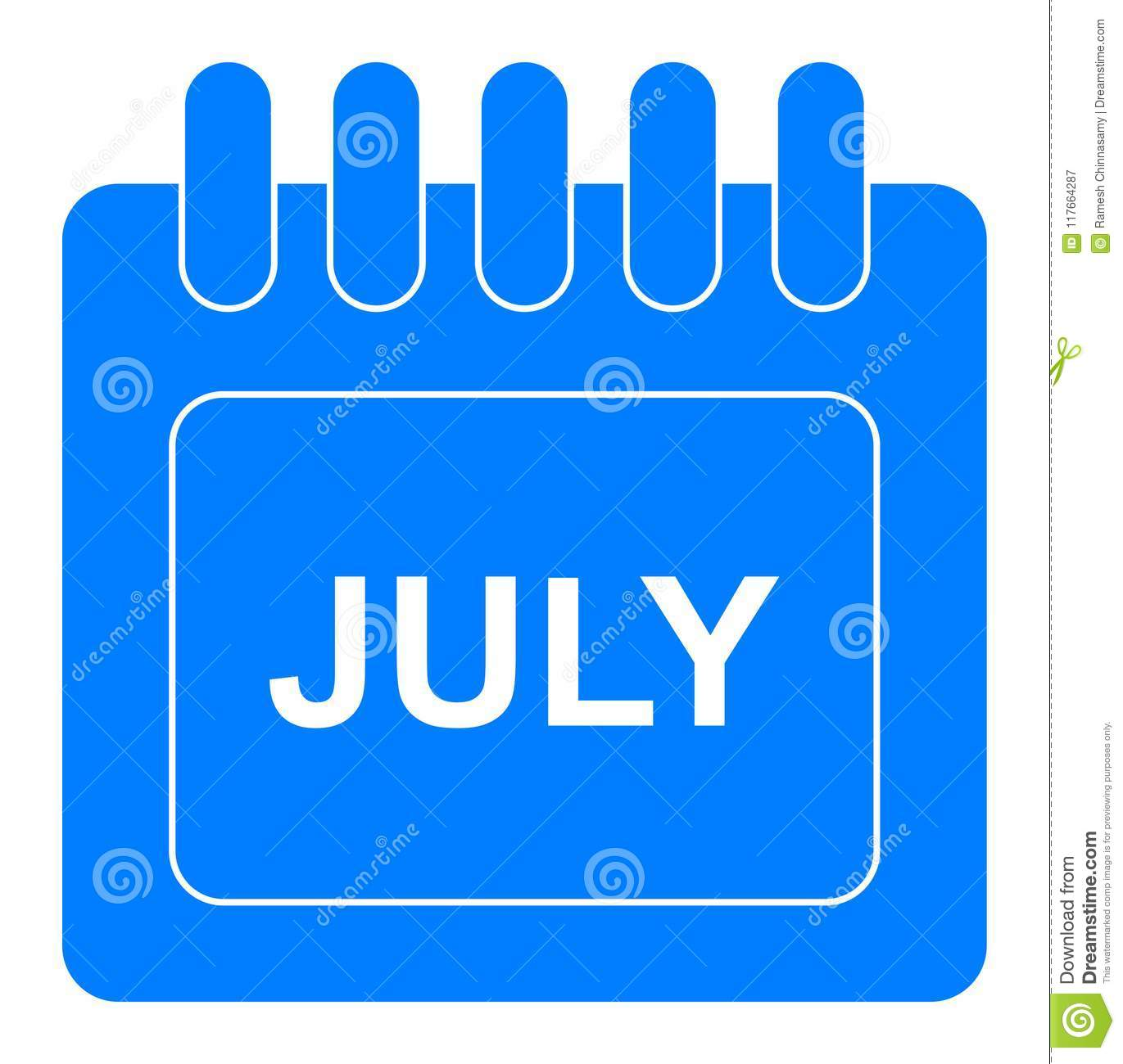 Vector july on monthly calendar blue icon