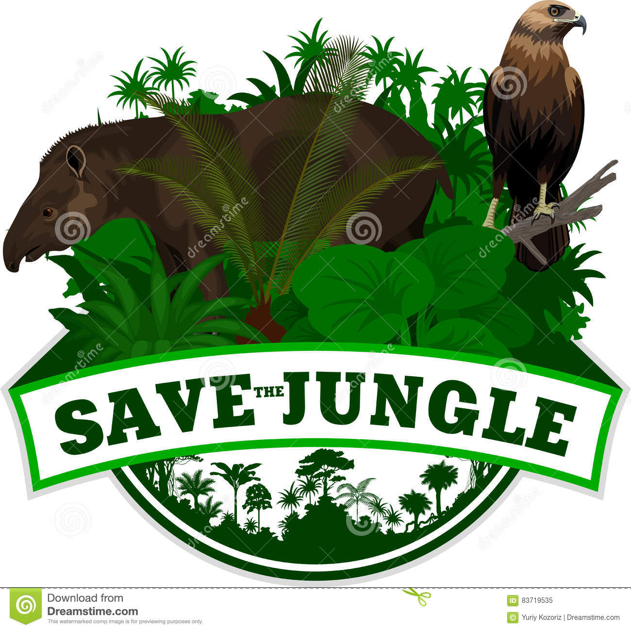 Vector Jungle Emblem With Sloth Stock Vector