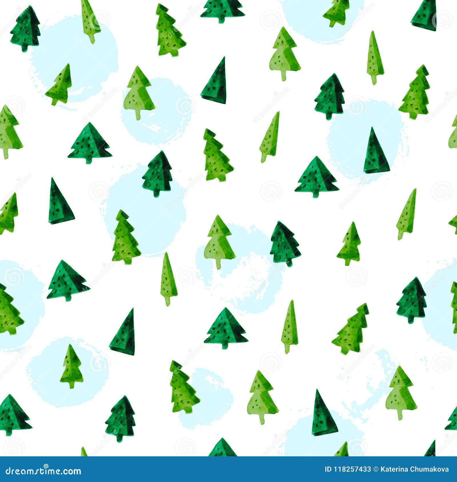 Tannenbaum Muster.Vector Künstlerisches Nahtloses Muster Für Feiertag Der Frohen