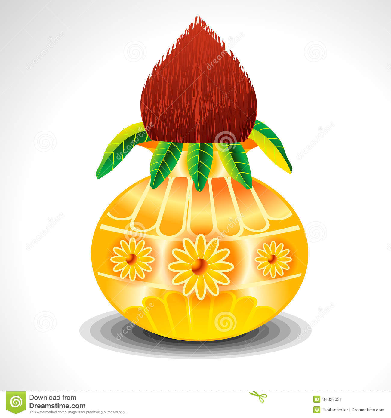 Vector Kalash With Mango Leaf Stock Vector - Image: 34328031