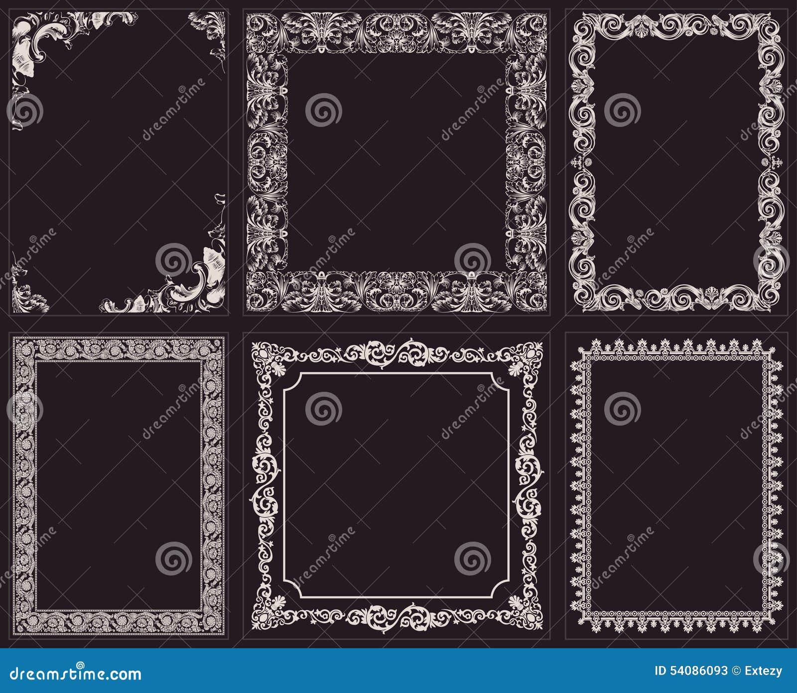 Vector kalligrafische geplaatste kaders Barok ornament