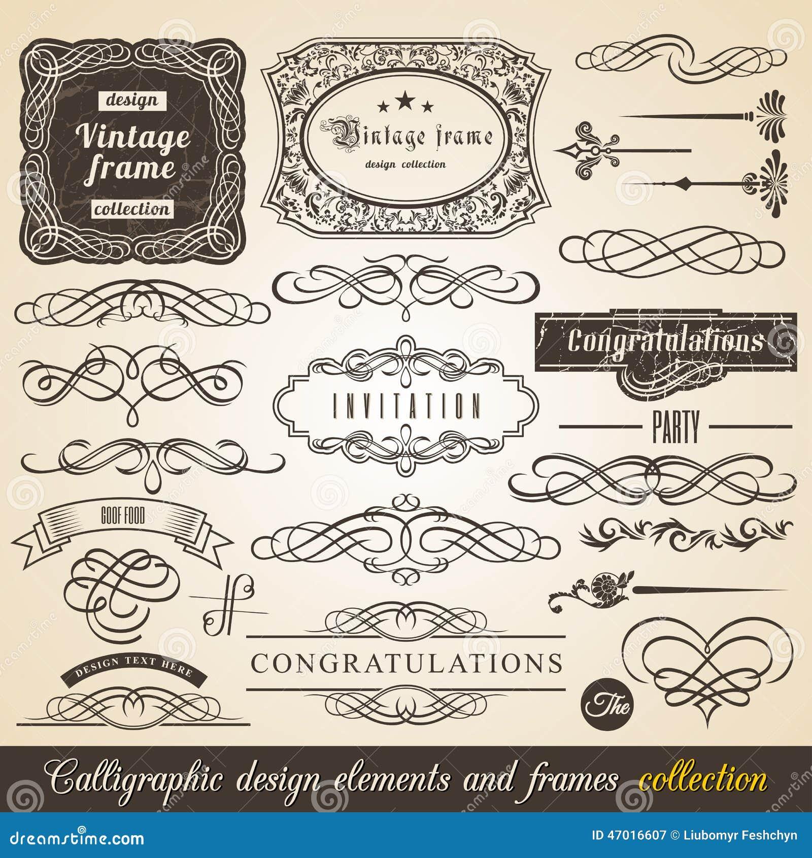 Vector kalligraphische Element Grenzeckzarge und Einladungs-Sammlung Dekorations-typografische Elemente, Weinlese-Aufkleber, Band