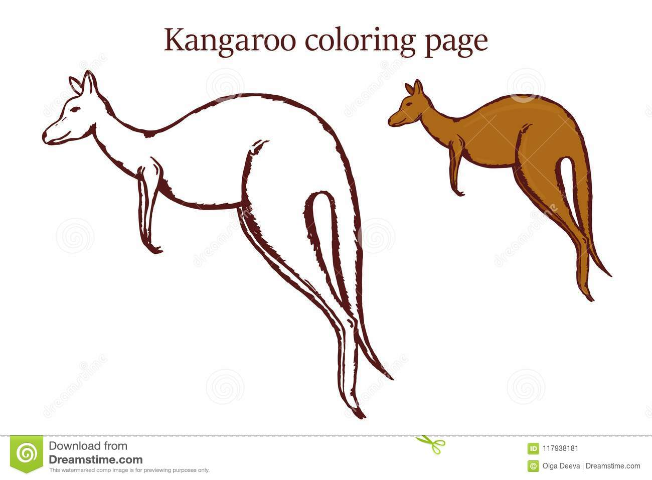 Download Kangaroo Coloring Page On White Background Stock Vector