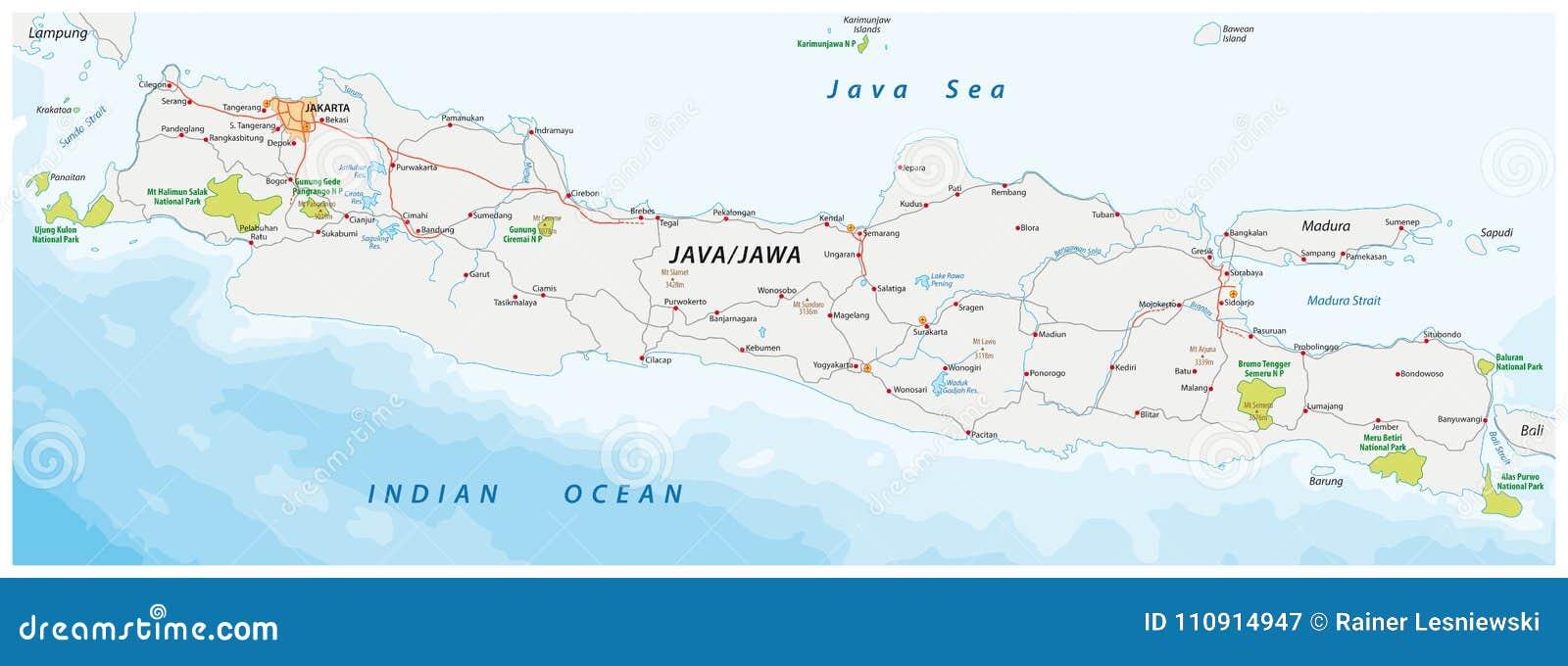 Bali Karte Asien.Vector Karte Der Straße Und Des Nationalparks Der Indonesischen