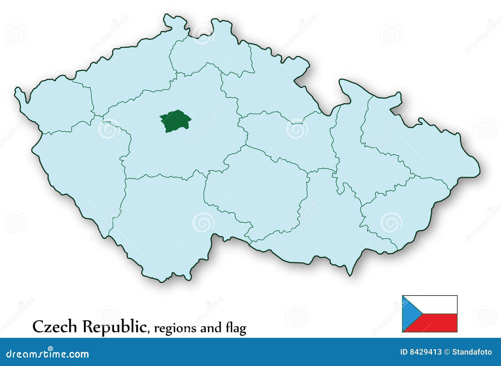 Prag Karte Tschechien.Vector Karte Der Tschechischen Republik Und Aller Regionen Vektor
