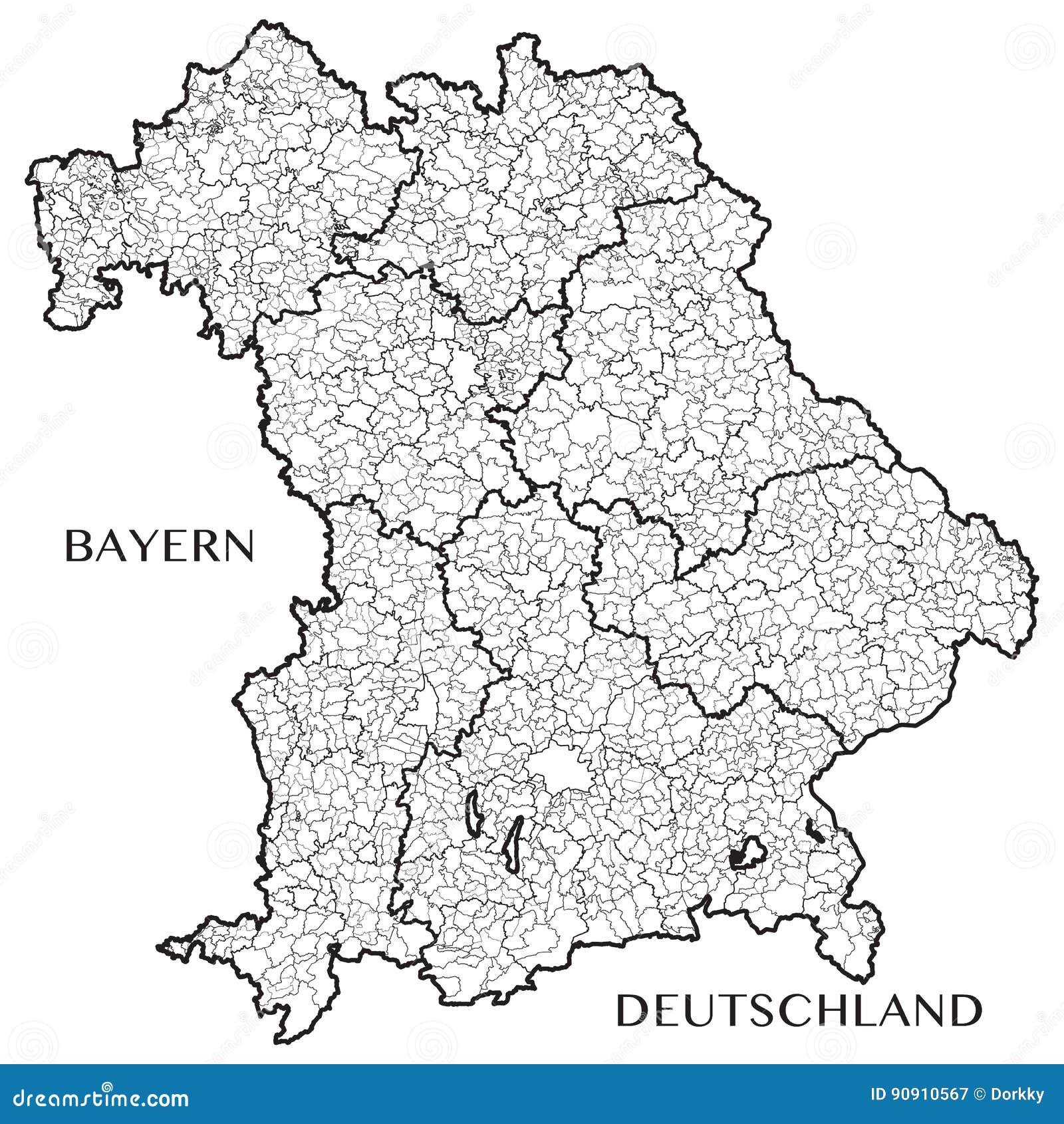 Karte Bayern.Vector Karte Des Staates Von Bayern Bayern Deutschland Vektor