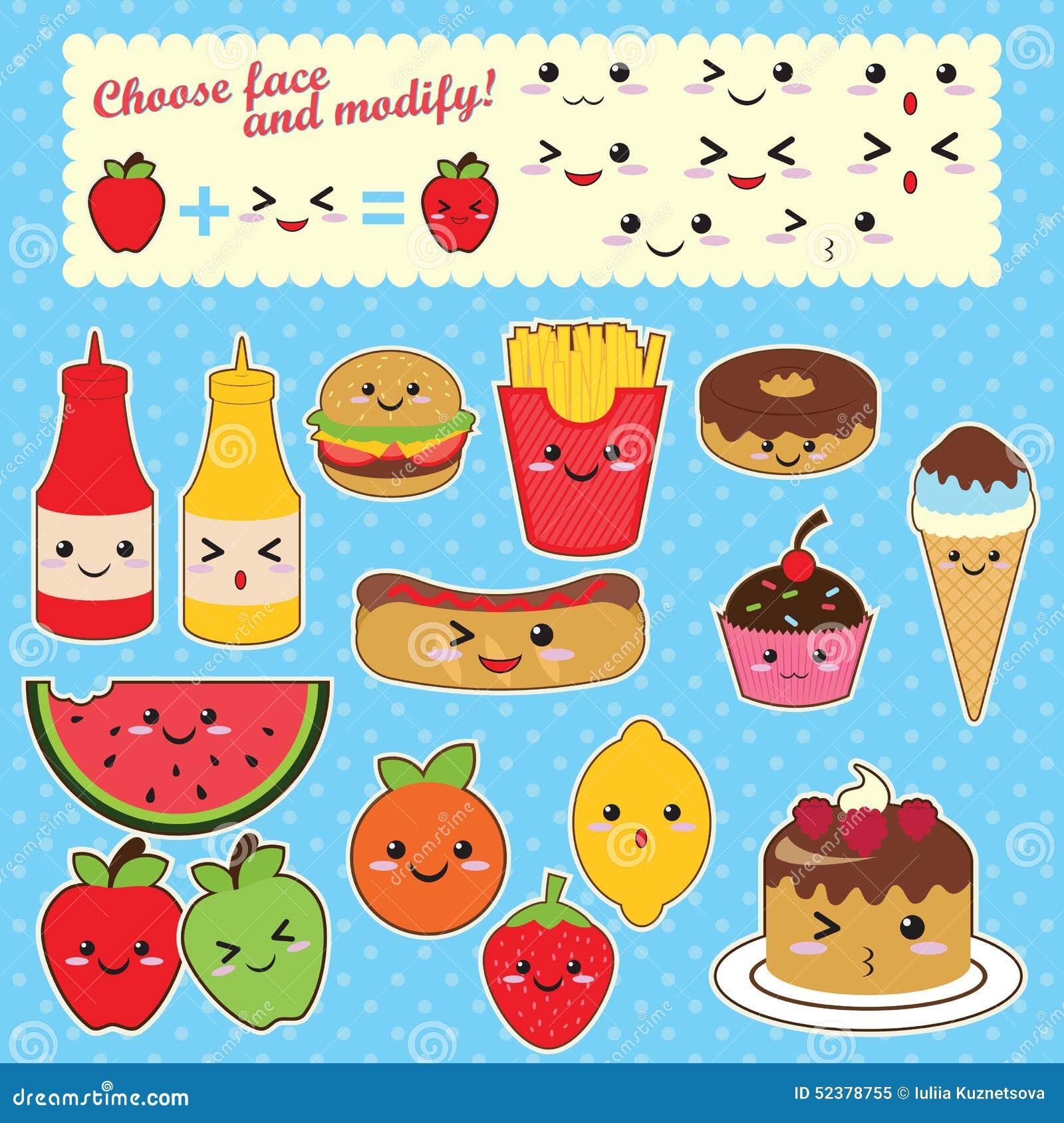 Coloriage Kawaii Fast Food