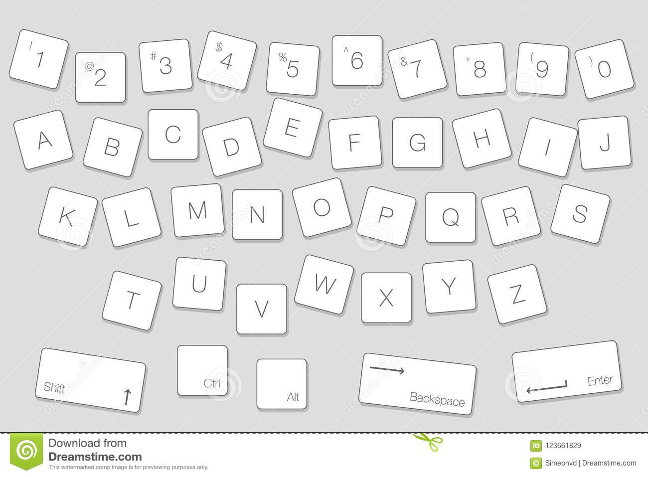 Vector Keyboard Computer Letter Keys Isolated White Buttons In