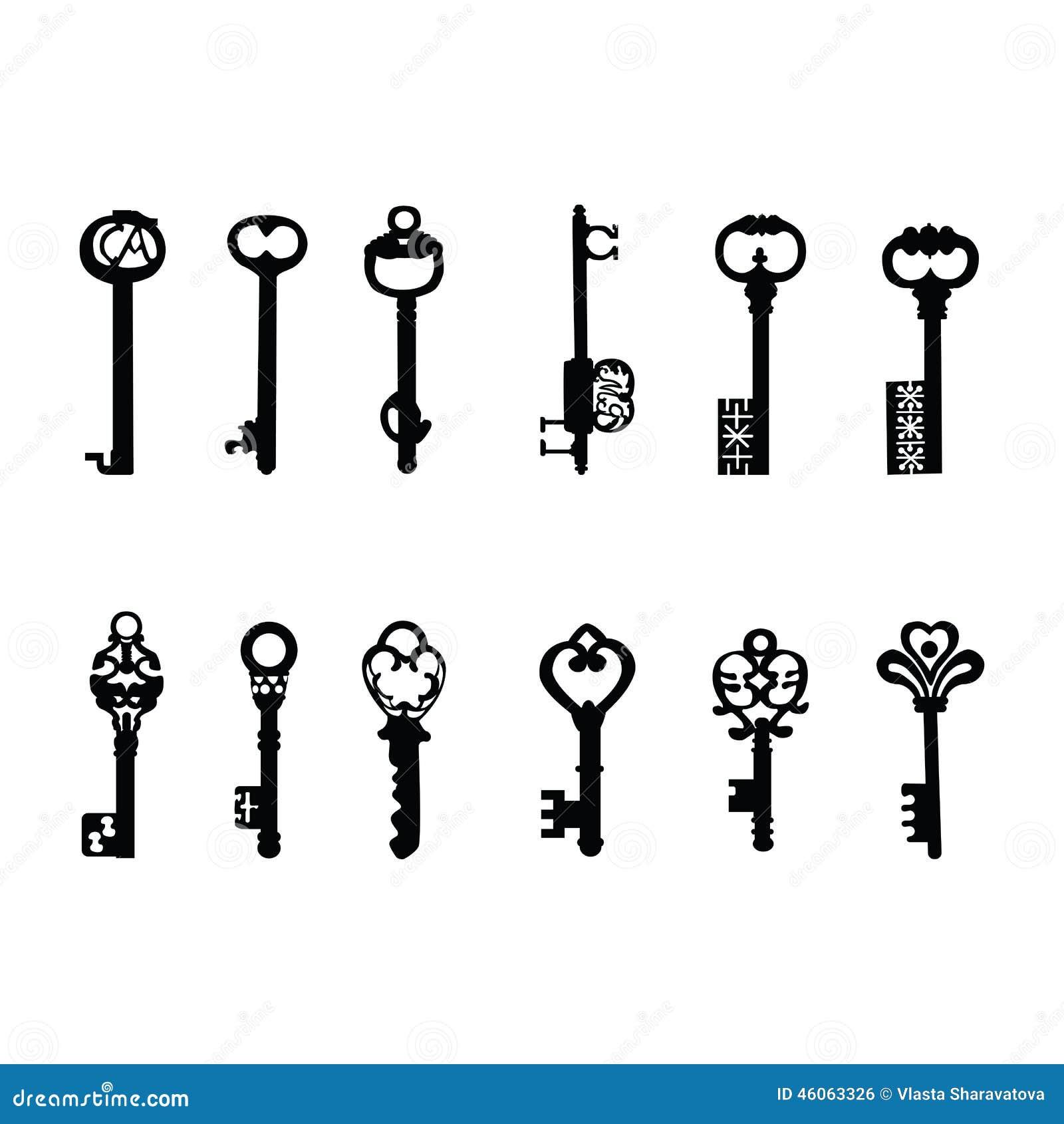 Vector Keys Silhouette Antique Keys 2 Stock Vector Image 46063326