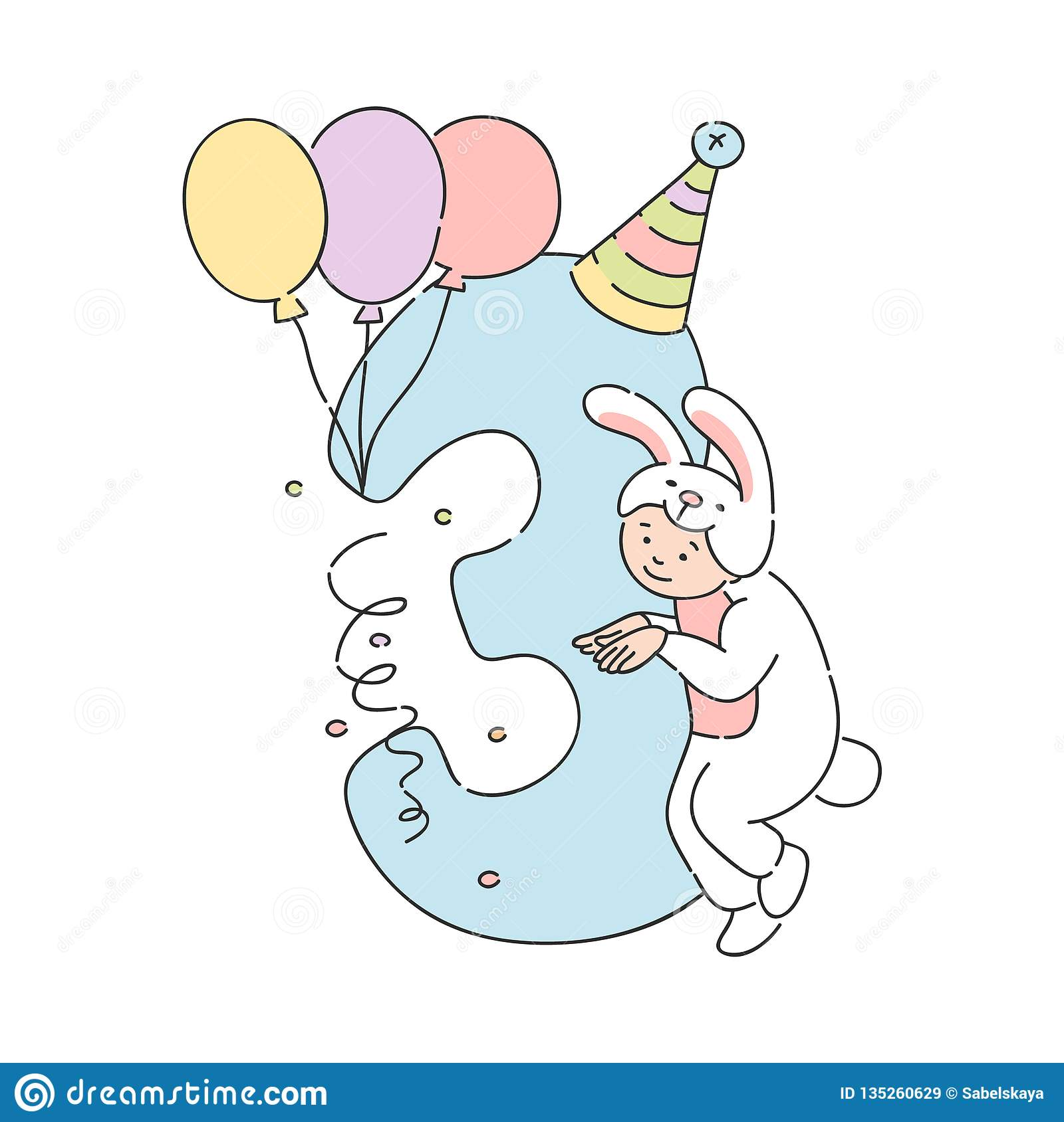 Vector Kid In Rabbit Costume Number Three 3 Stock Vector