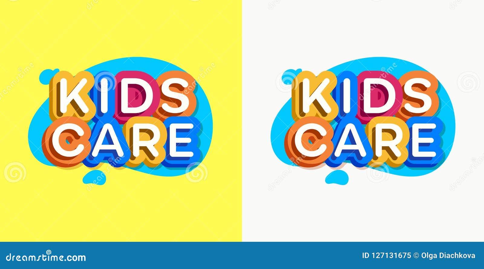Vector Kids Care Logo Cartoon Colorful Style Stock Vector ...