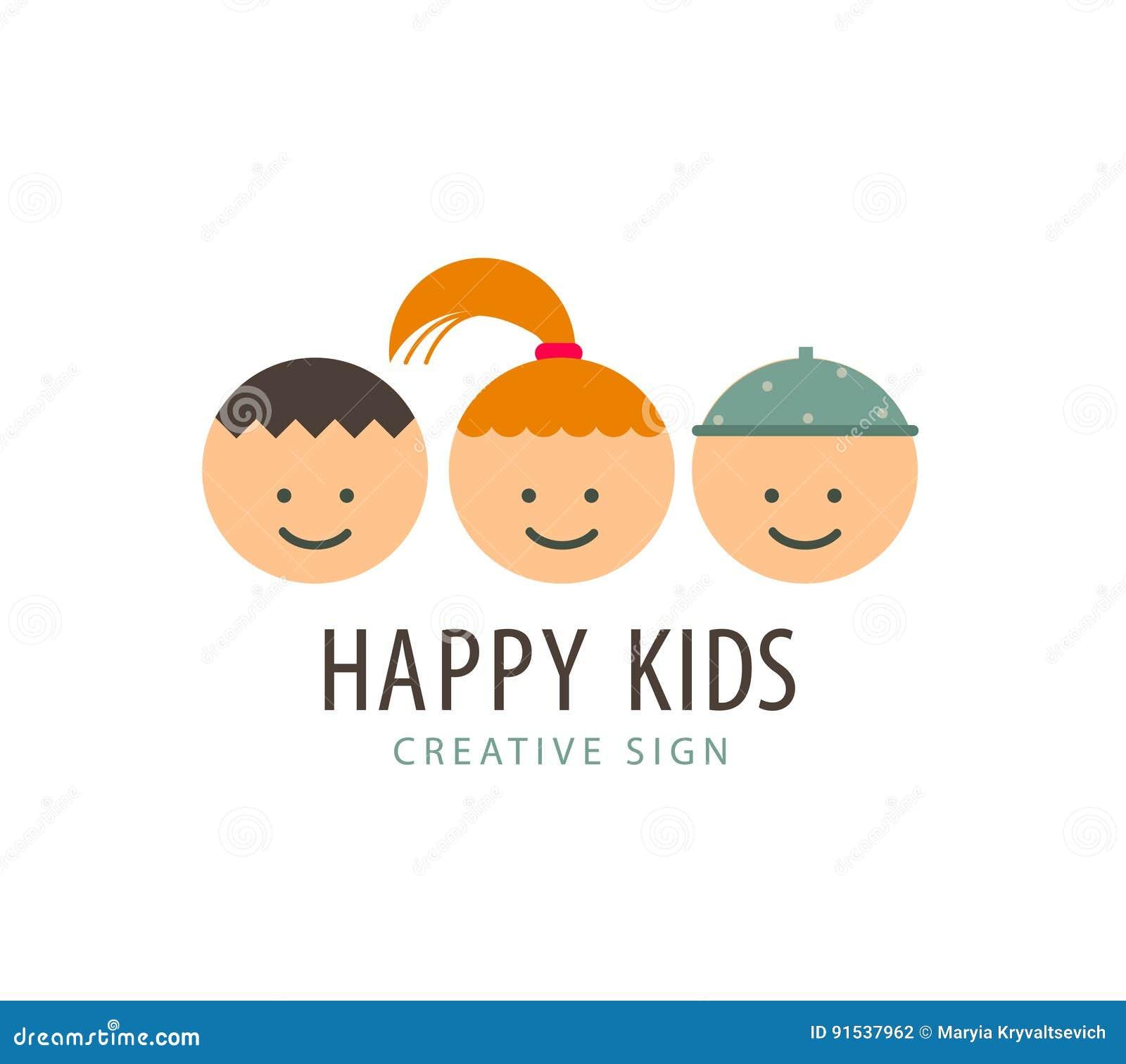 Funny Cartoon Images Of Boys vector 3 kids faces, funny cartoon, boys and girl logo stock