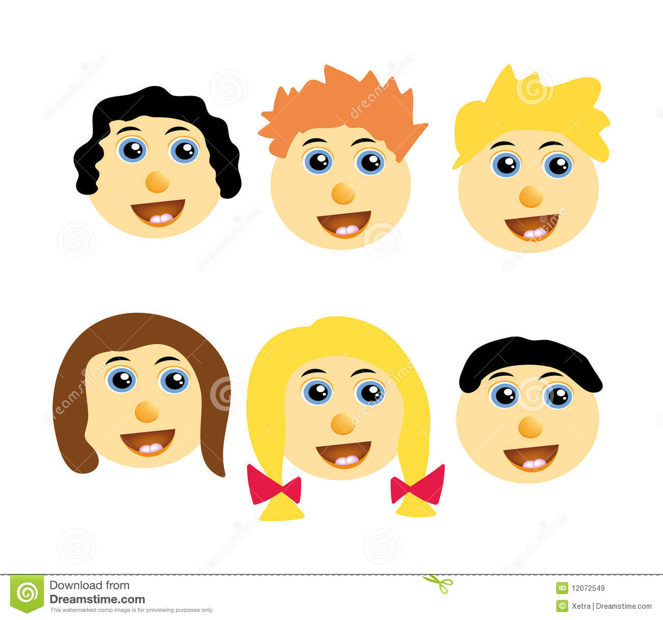 Vector kids happy faces stock illustration. Illustration ...