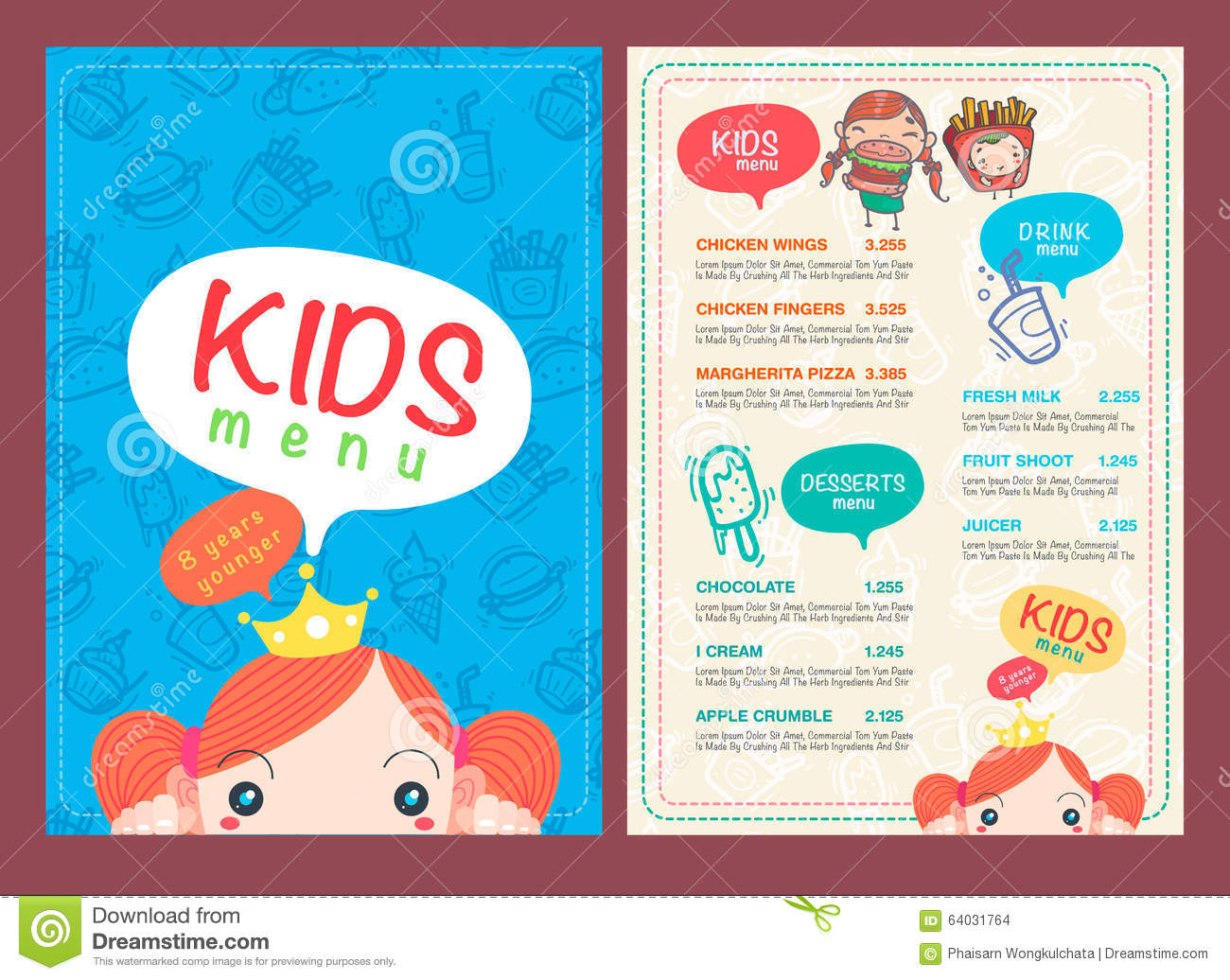 Vector Kids Menu Template. Stock Vector. Illustration Of Kids .