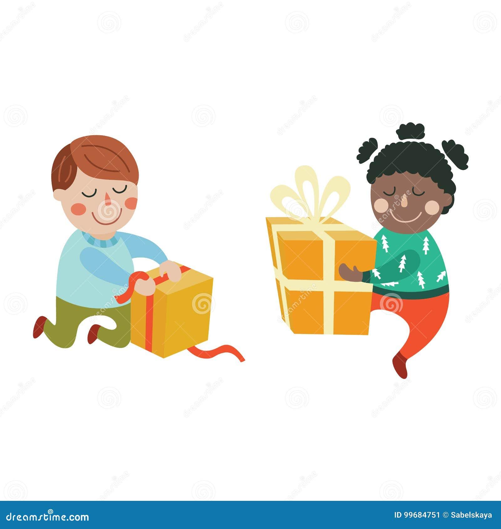 Vector Cartoon Kids With Present Gift Set Stock Vector