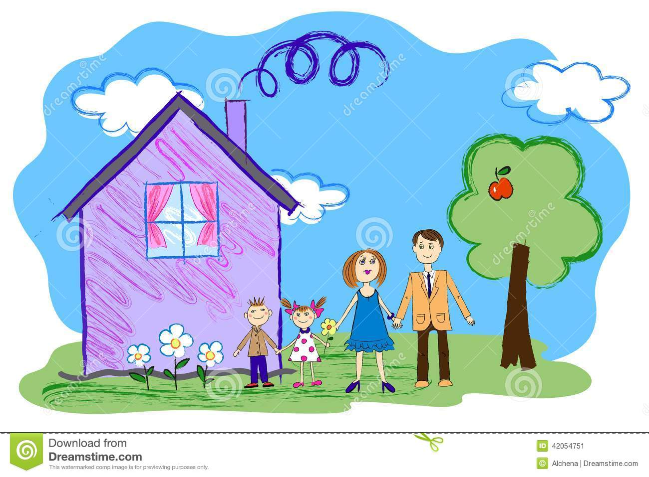 Vector Kids Sketch Of Happy Family With House Stock