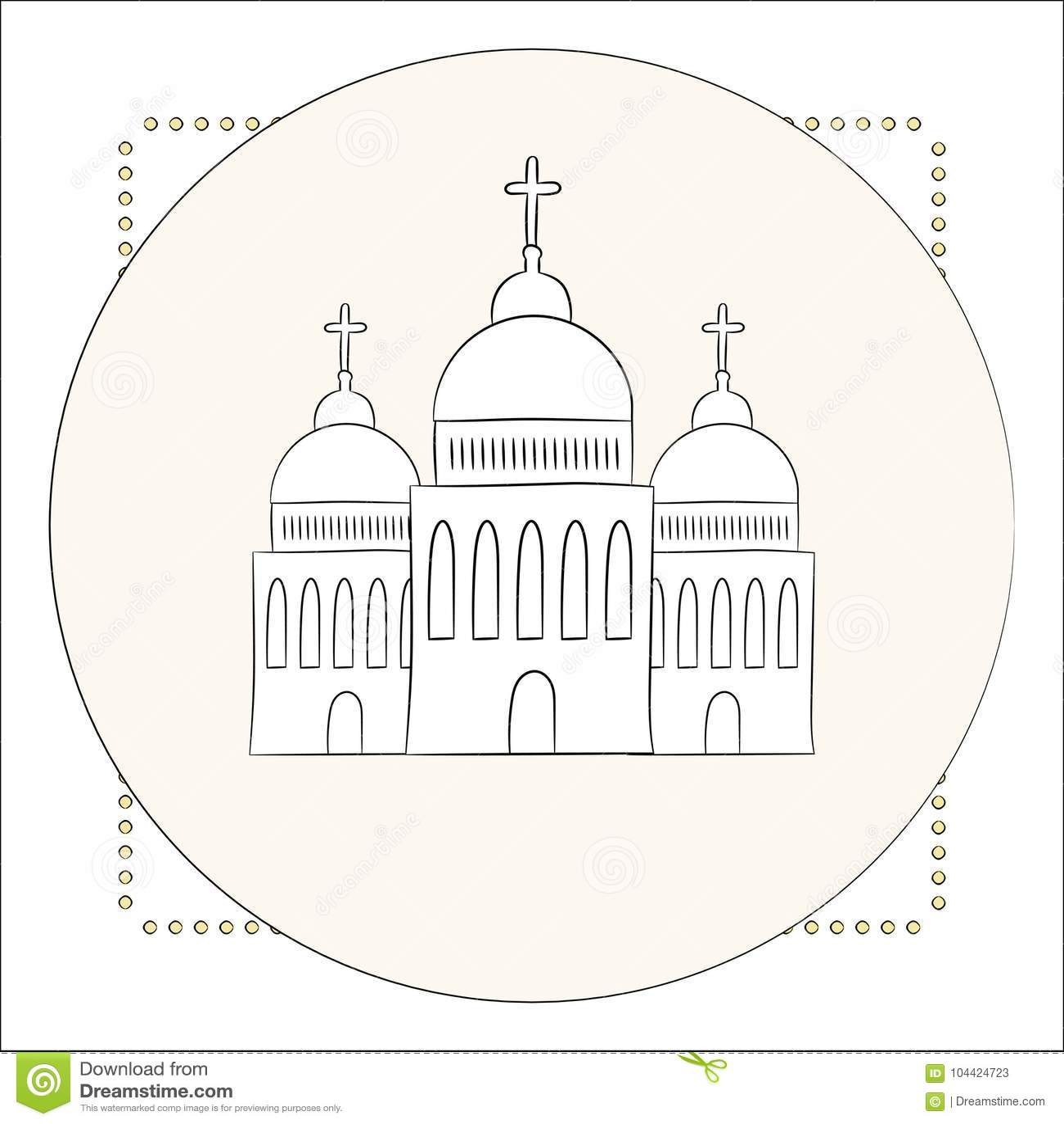 Vector Kirche Tempel Kapelle Mit Hauben Und Kreuze