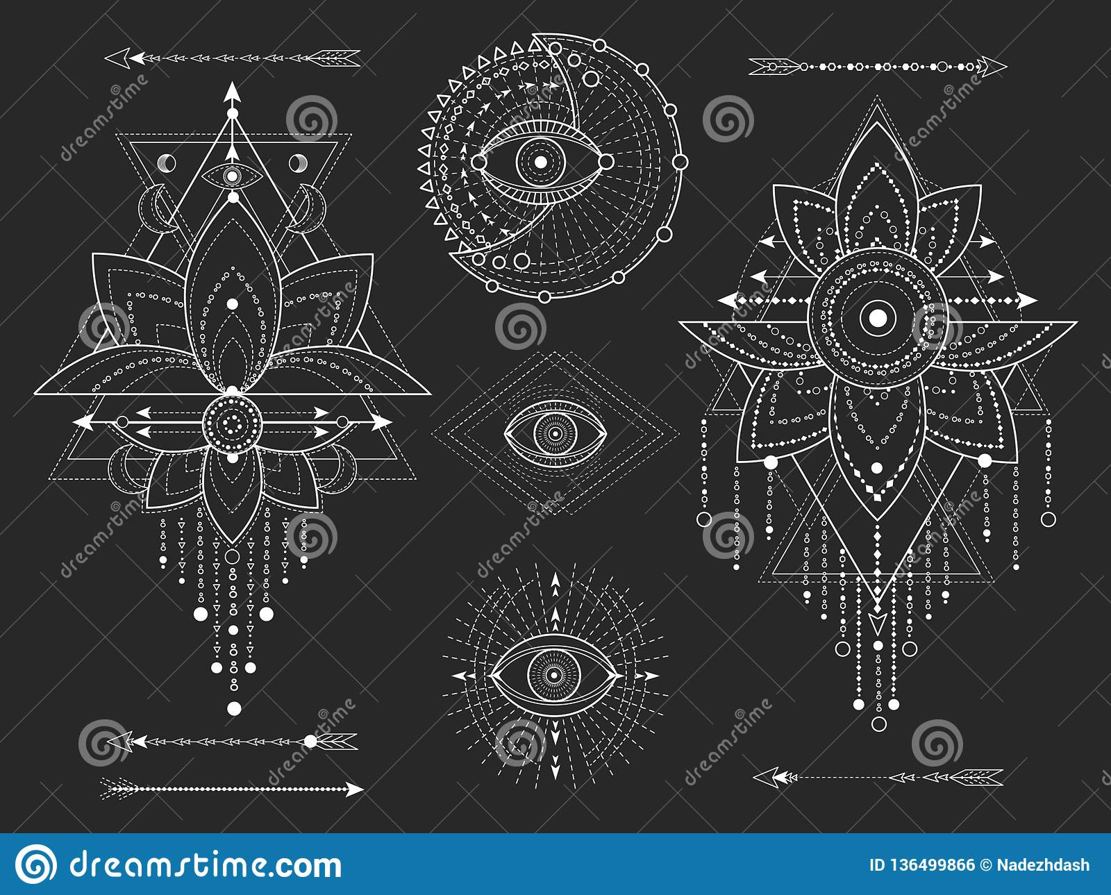 Vector kit of Sacred geometric and natural symbols on black background. Abstract mystic signs collection.