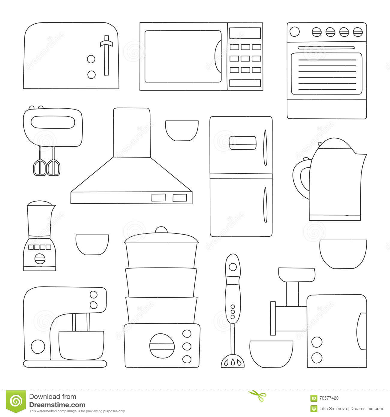 Vector kitchen appliances icon stock vector image 70577420 for Kitchen design vector