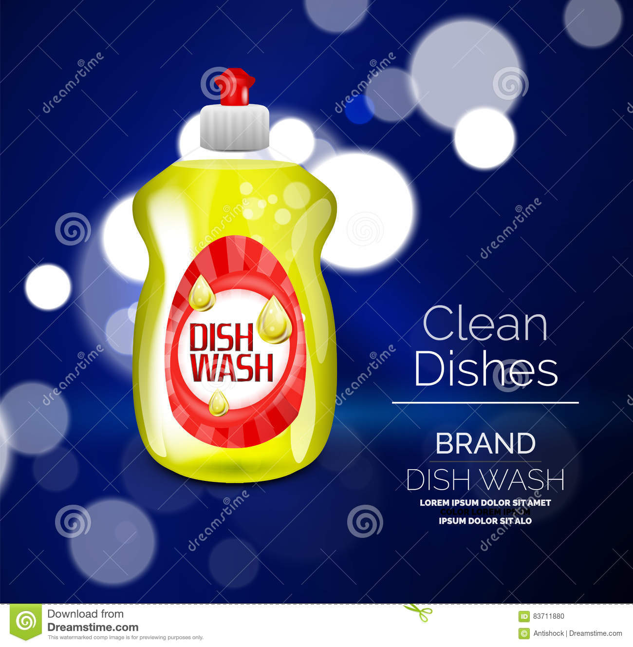 Vector Kitchen Dish Wash Ad Product Package Stock Illustration