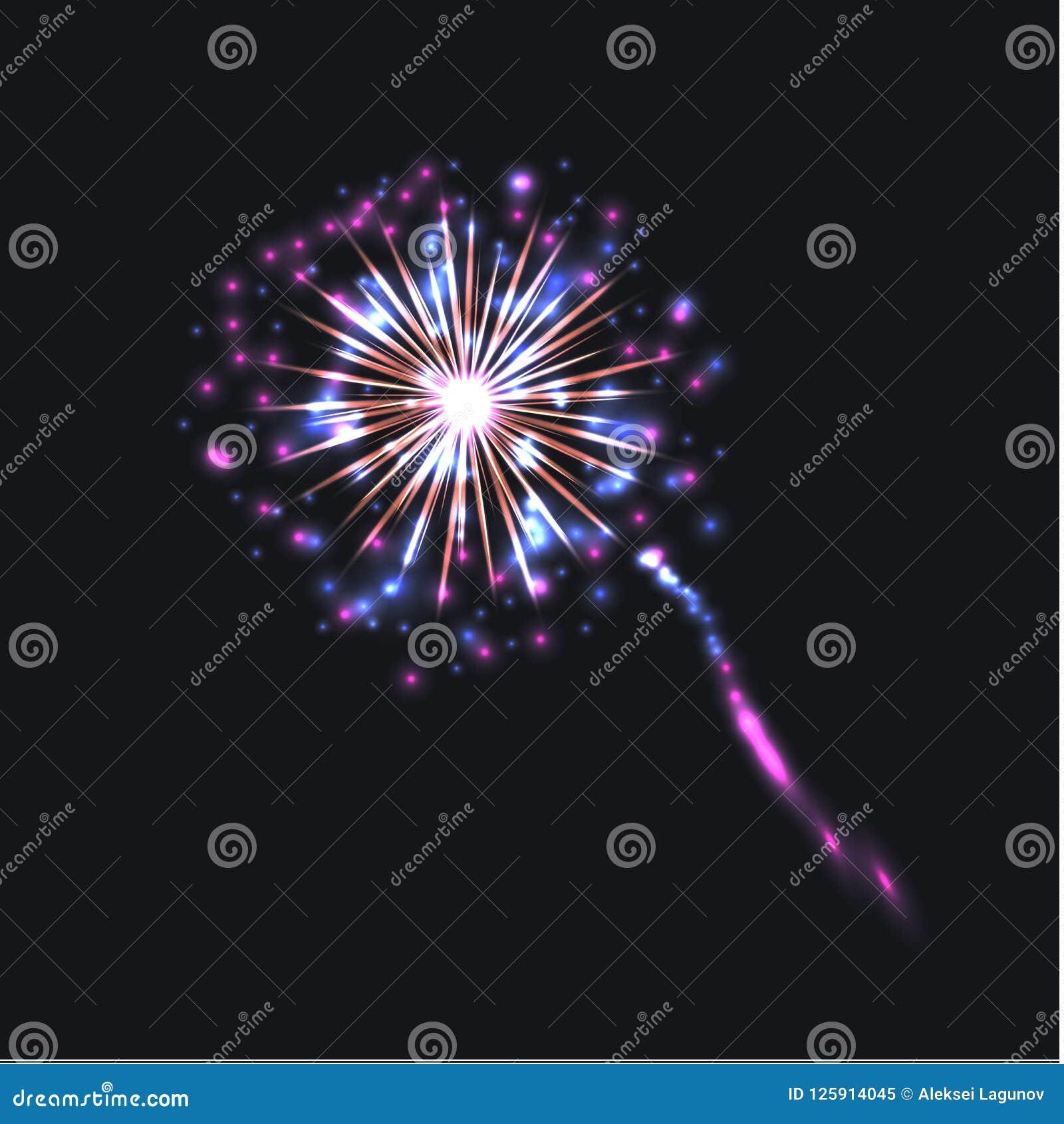 Vector Kleurrijk die Vuurwerk, op Donkere Heldere Kleuren wordt geïsoleerd Als achtergrond