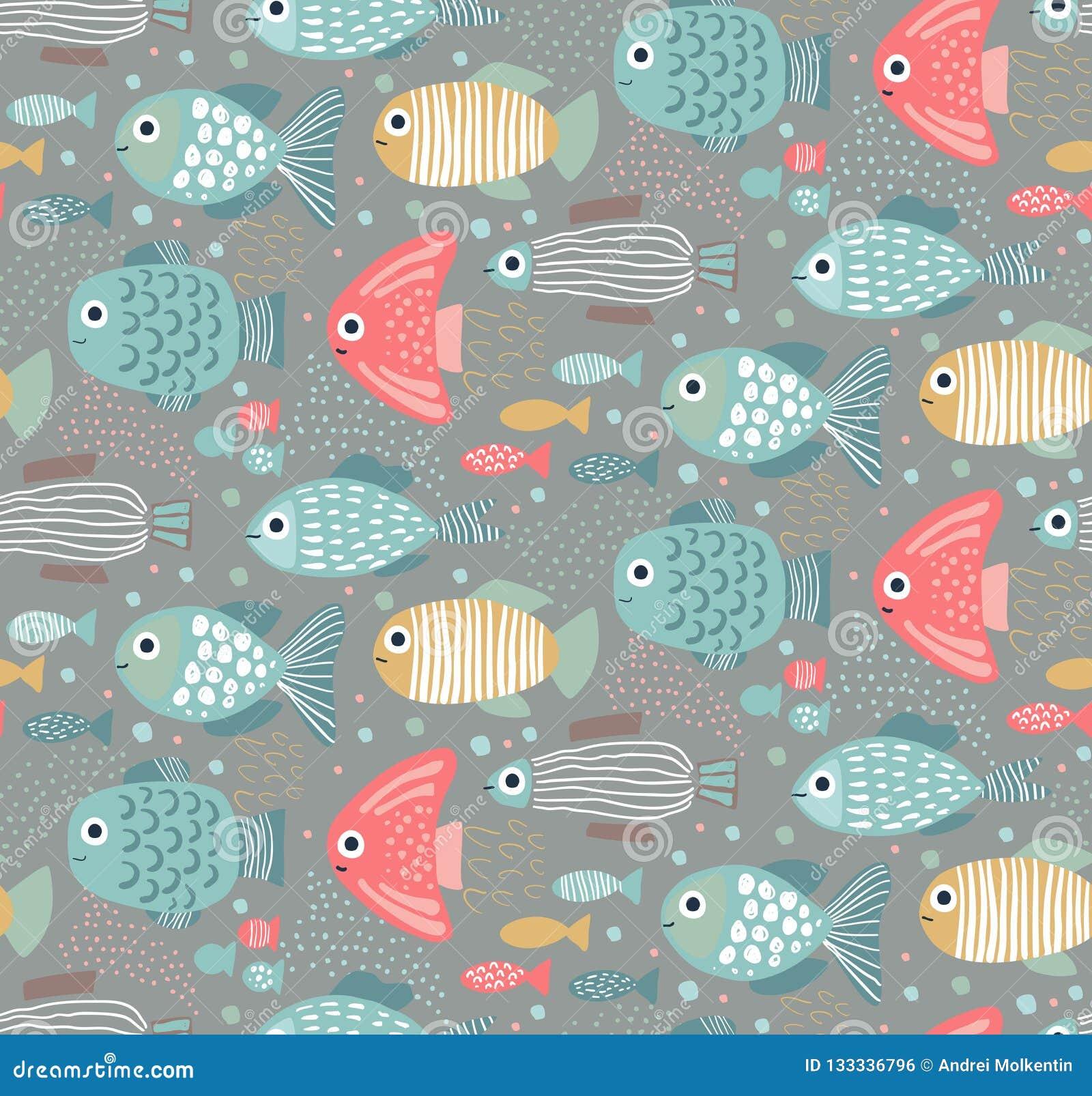 Vector kleurrijk naadloos patroon met grappige vissen