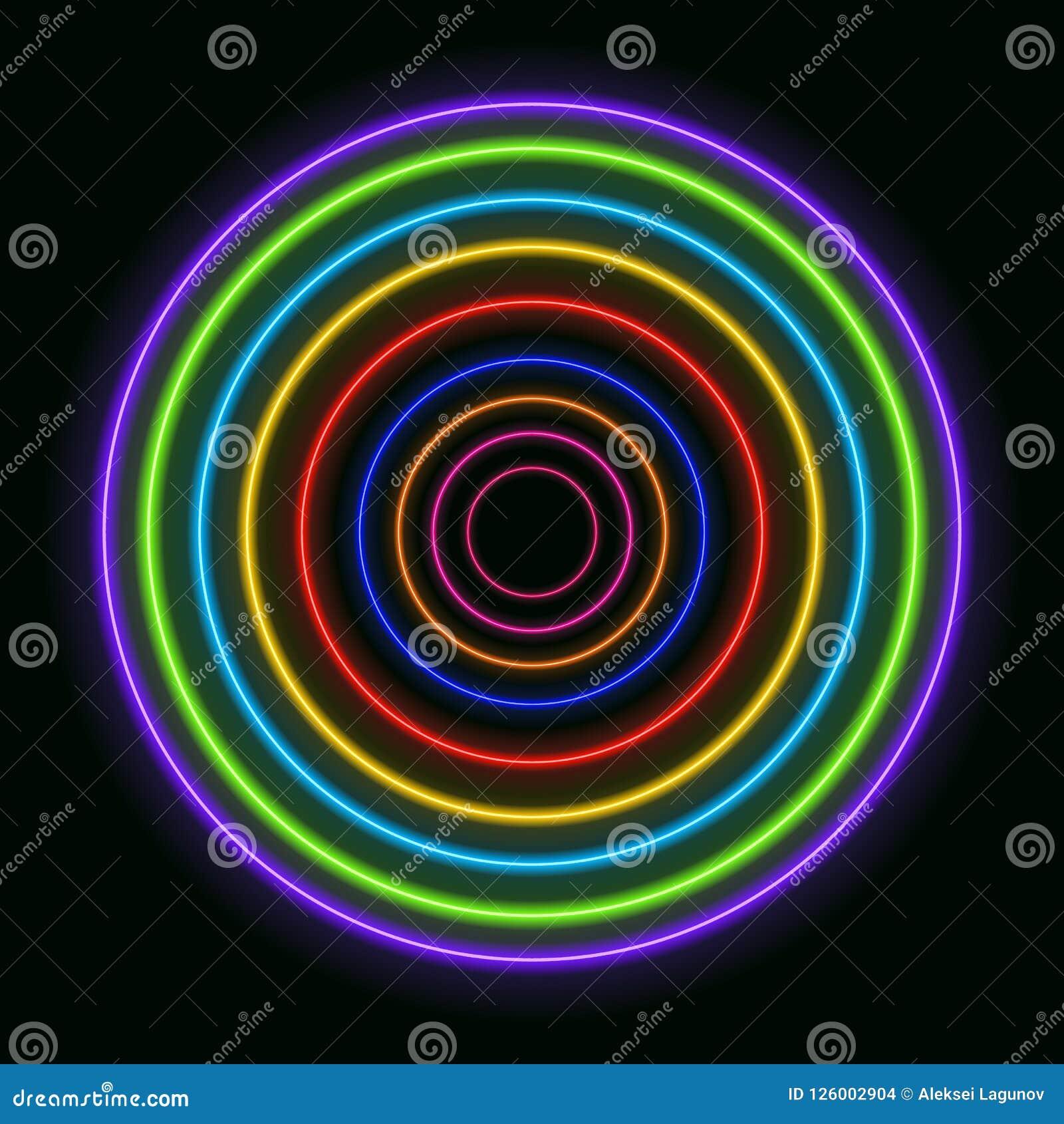 Vector Kleurrijke Neoncirkels, Glanzende Regenboog Gekleurde Ringen