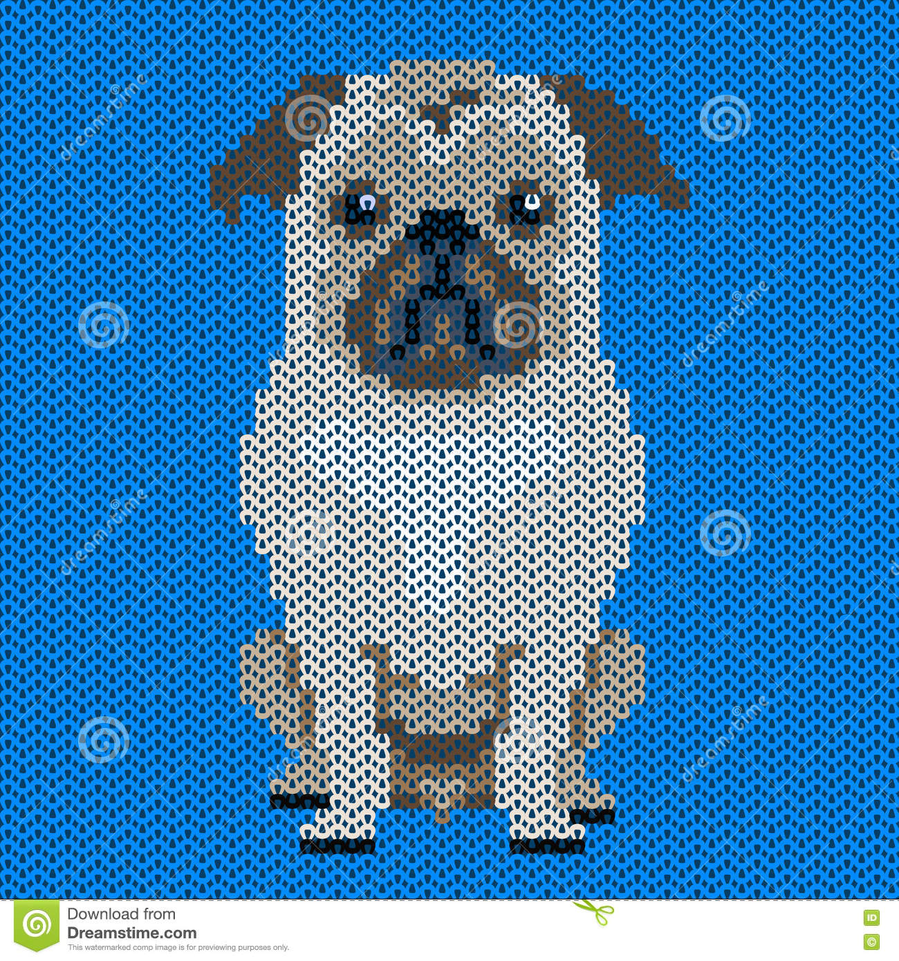 Vector Knitted Dog Pattern.Pug-dog On Blue Background. Stock ...