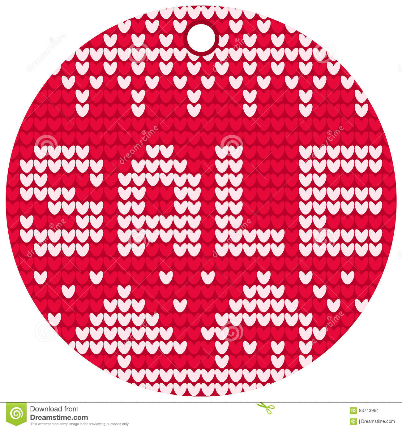 Vector Knitting Sale Red Round Label Stock Illustration