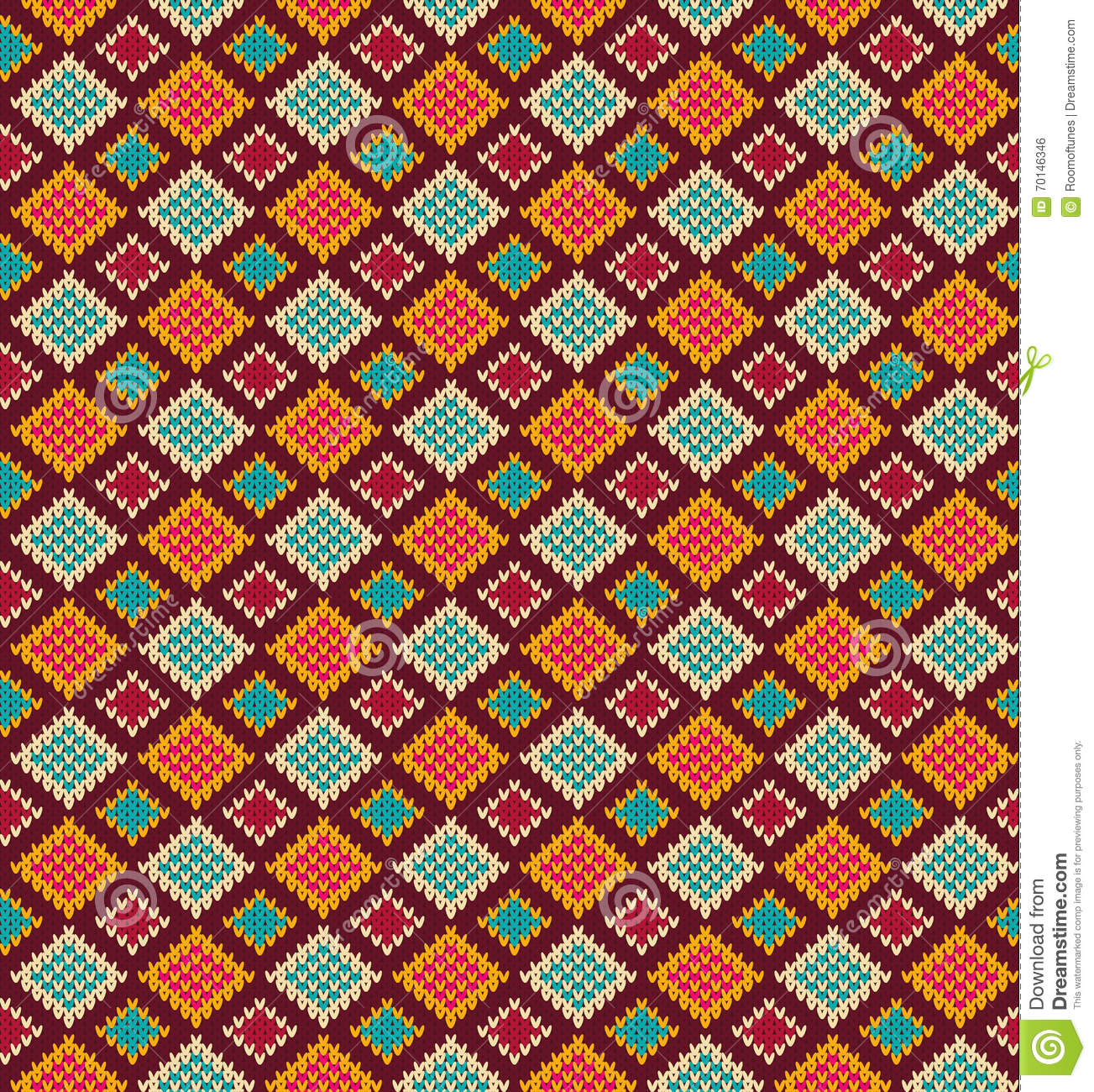 Vector Seamless Pattern With Rhombs. Abstract Orange