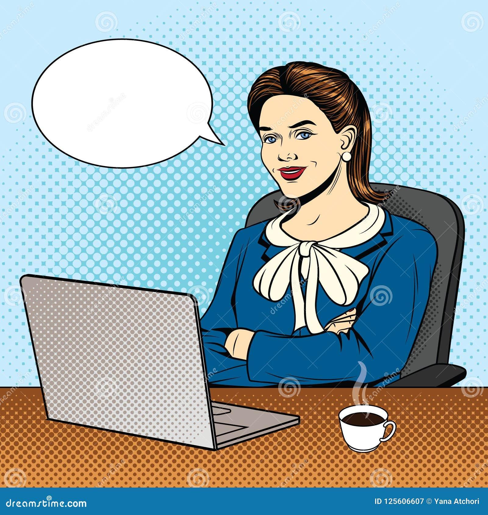 Vector komische Artillustration der Farbpop-art einer Geschäftsfrau, die am Computer sitzt