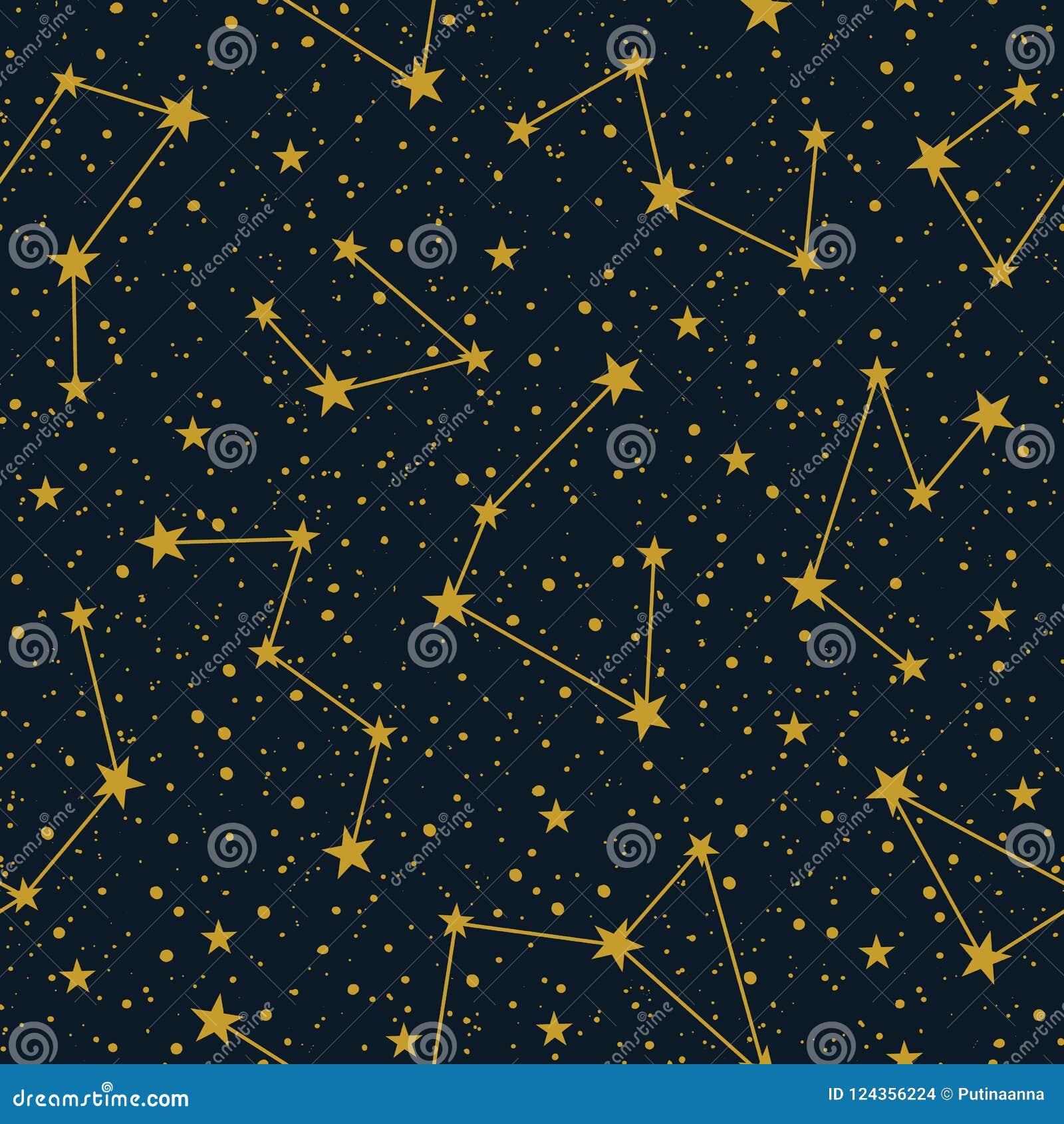 Vector Konstellationen auf nahtlosem Muster des dunklen sternenklaren Himmelvektors Winter-Weihnachtsfeiertagshintergrund Hand ge