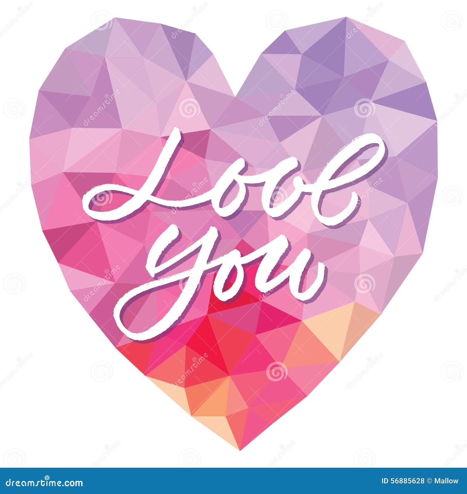Vector l amore del modello voi sul fondo del triangolo del cuore