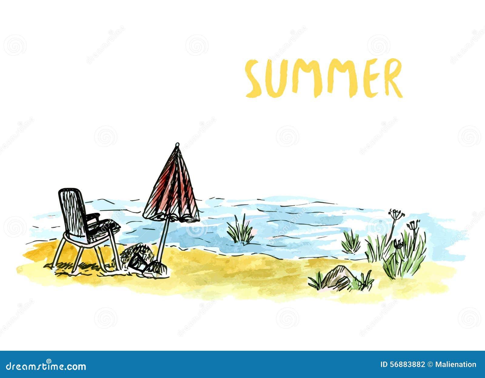Vector l arte di schizzo con la poltrona e l ombrello della spiaggia Feste del mare o del fiume Illustrazione disegnata a mano de