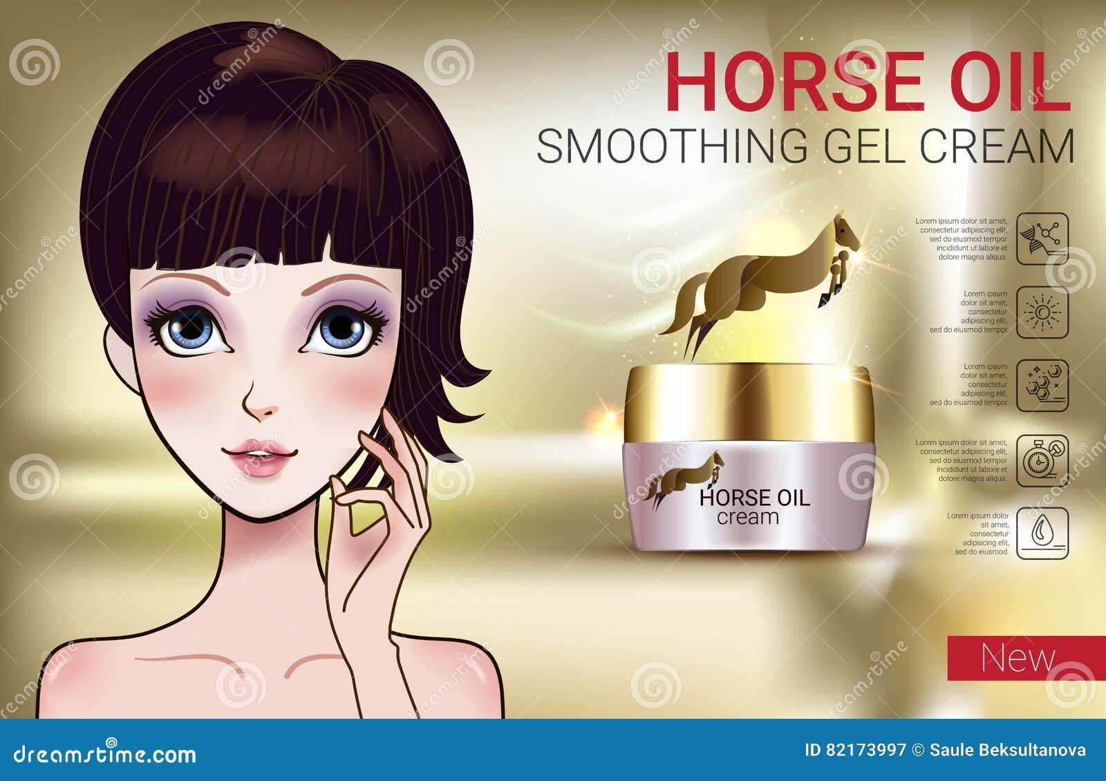 Vector l illustrazione con la ragazza di stile di manga e la crema dell olio del cavallo
