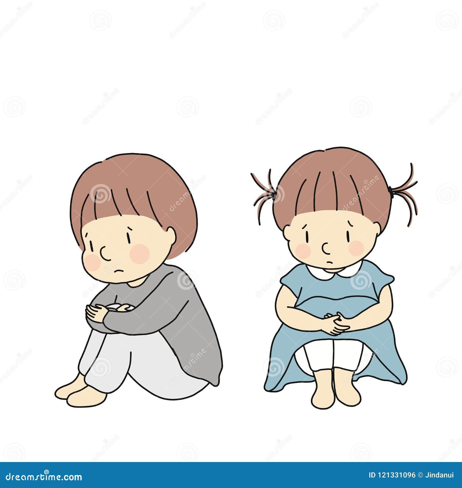 Vector Lillustrazione Dei Bambini Che Abbracciano Le Ginocchia