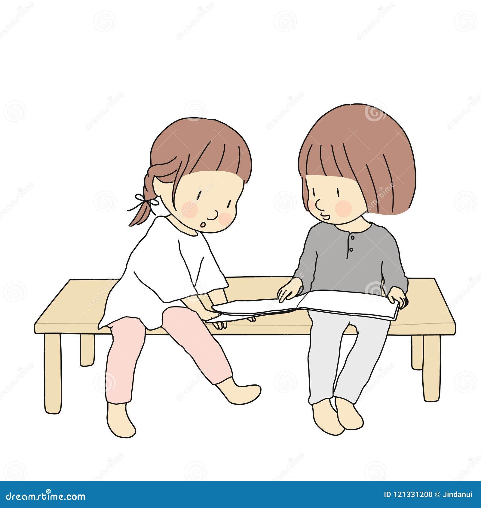 Vector l illustrazione dei bambini che si siedono insieme e che leggono il libro di storia Attività di sviluppo di prima infanzia