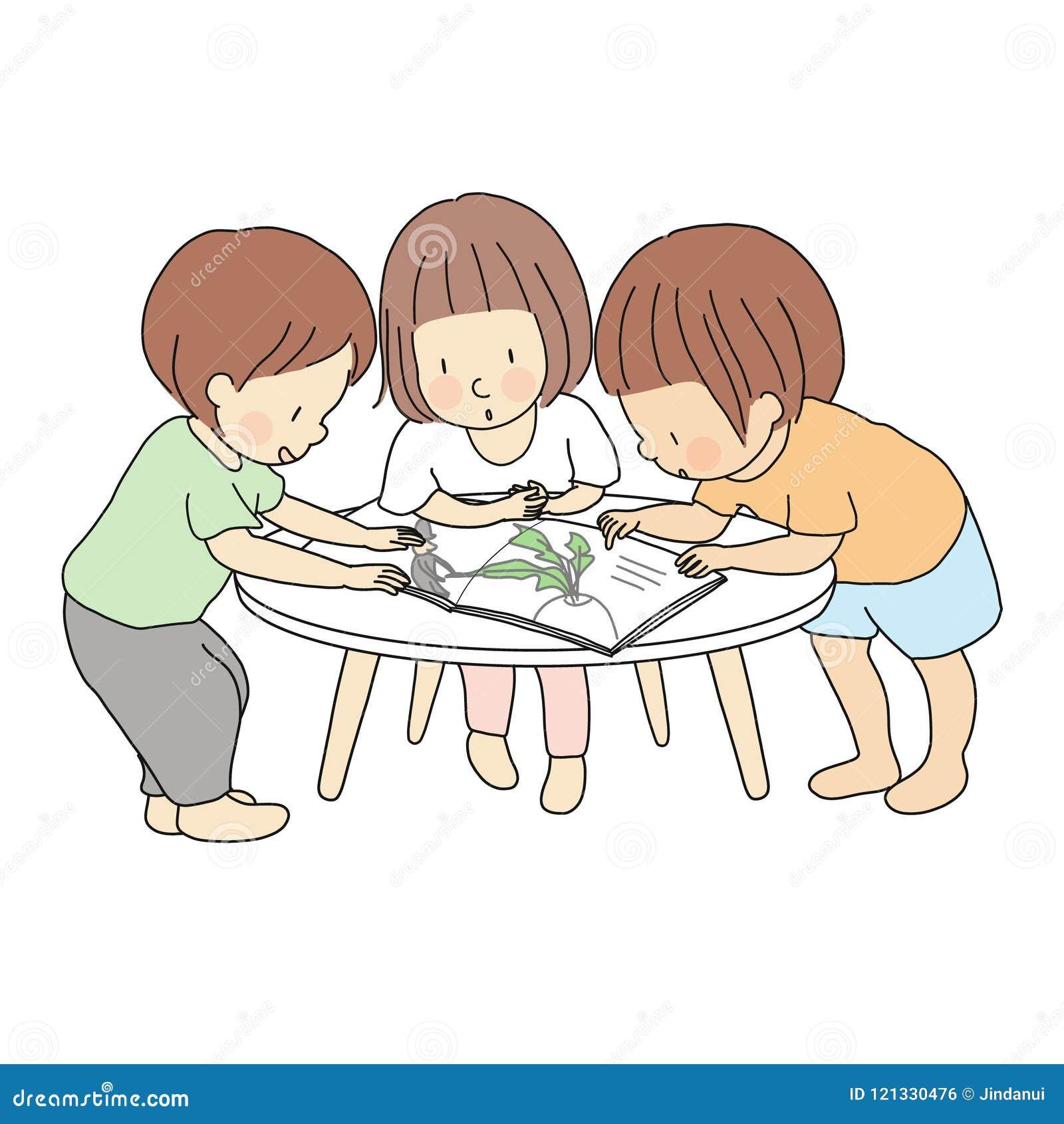 Vector l illustrazione dei bambini che stanno insieme e che leggono il libro di storia Attività di sviluppo di prima infanzia, is