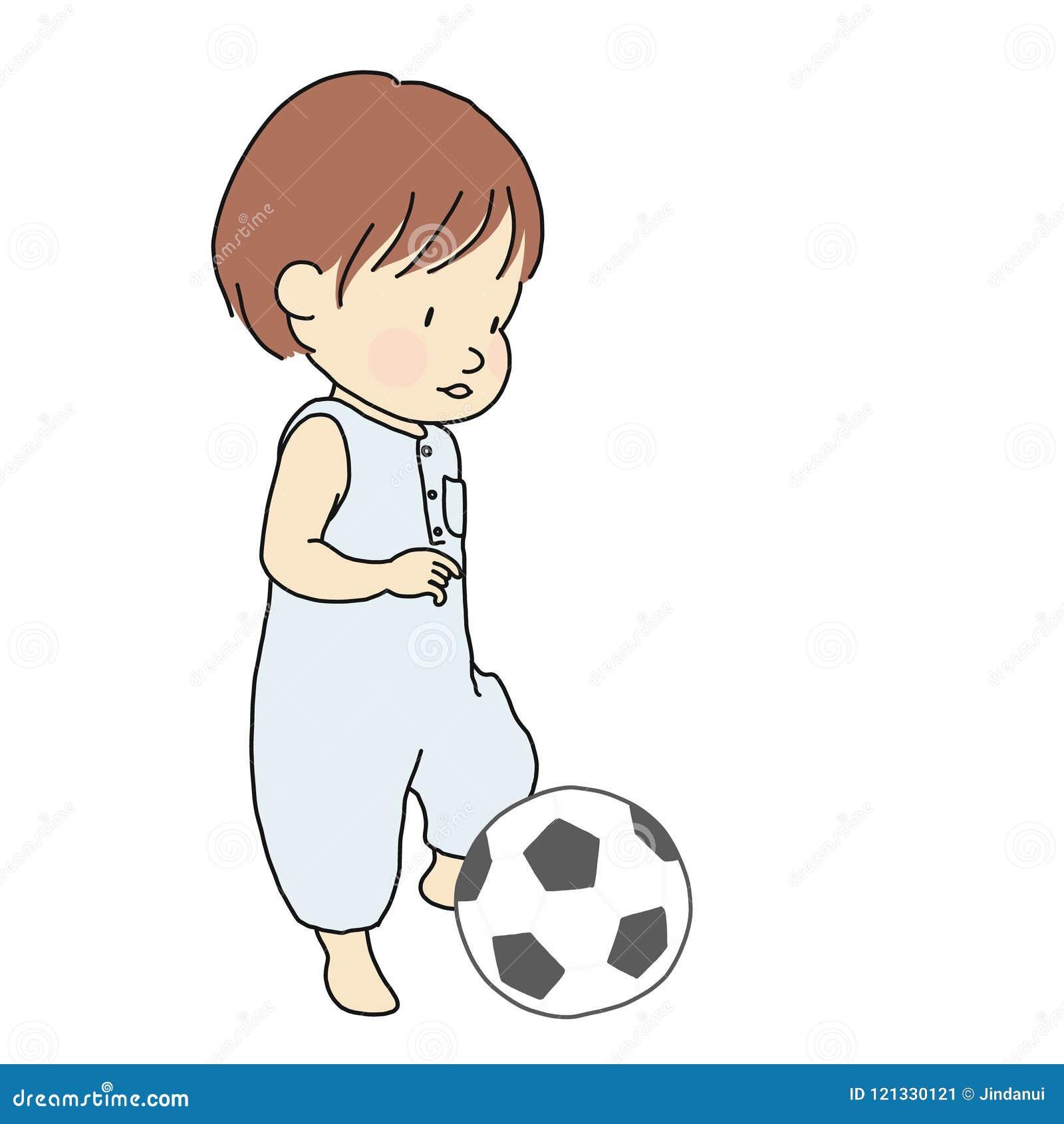Vector Lillustrazione Del Bambino Che Prova A Dare Dei Calci Al