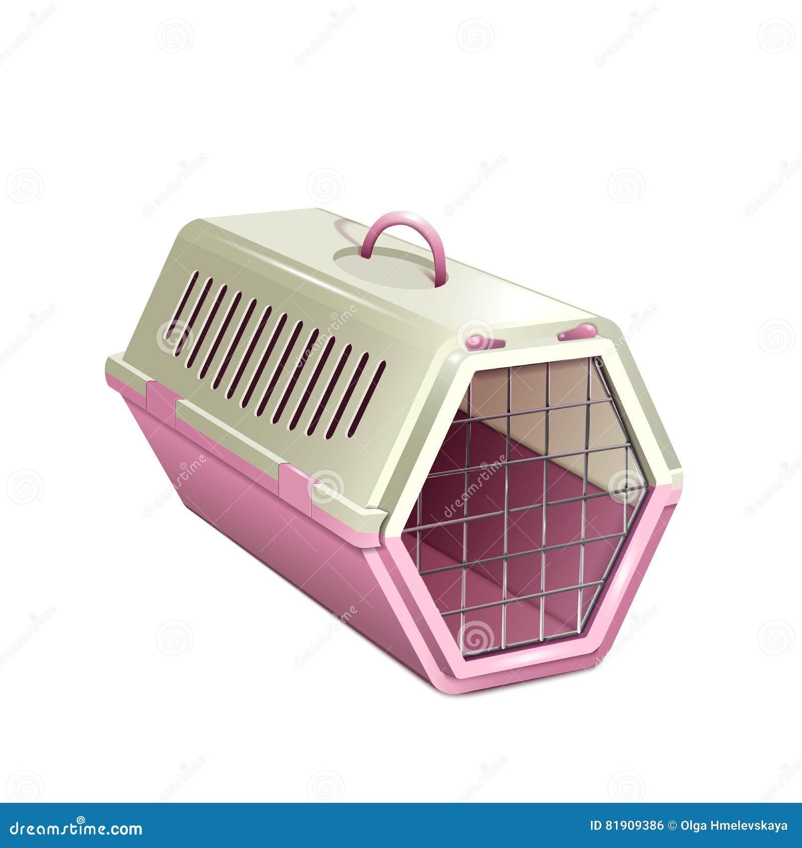 Vector l illustrazione del kannel dell animale domestico, trasportatore rosa del gatto