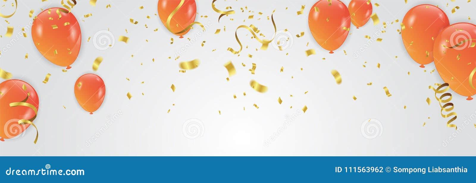 Vector l illustrazione del te del fondo della celebrazione dei palloni dell arancia