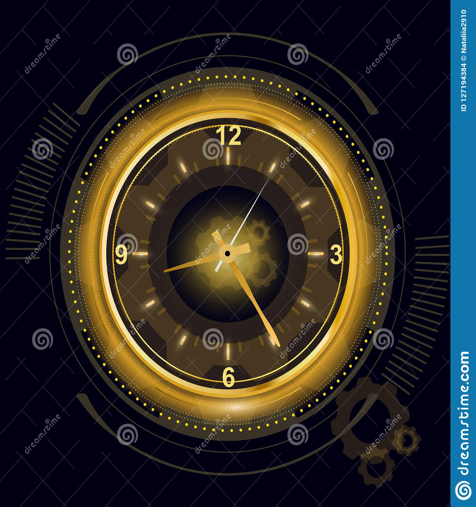 Vector l illustrazione dell orologio digitale futuristico astratto, il fondo con il temporizzatore leggero dorato di numero, temp