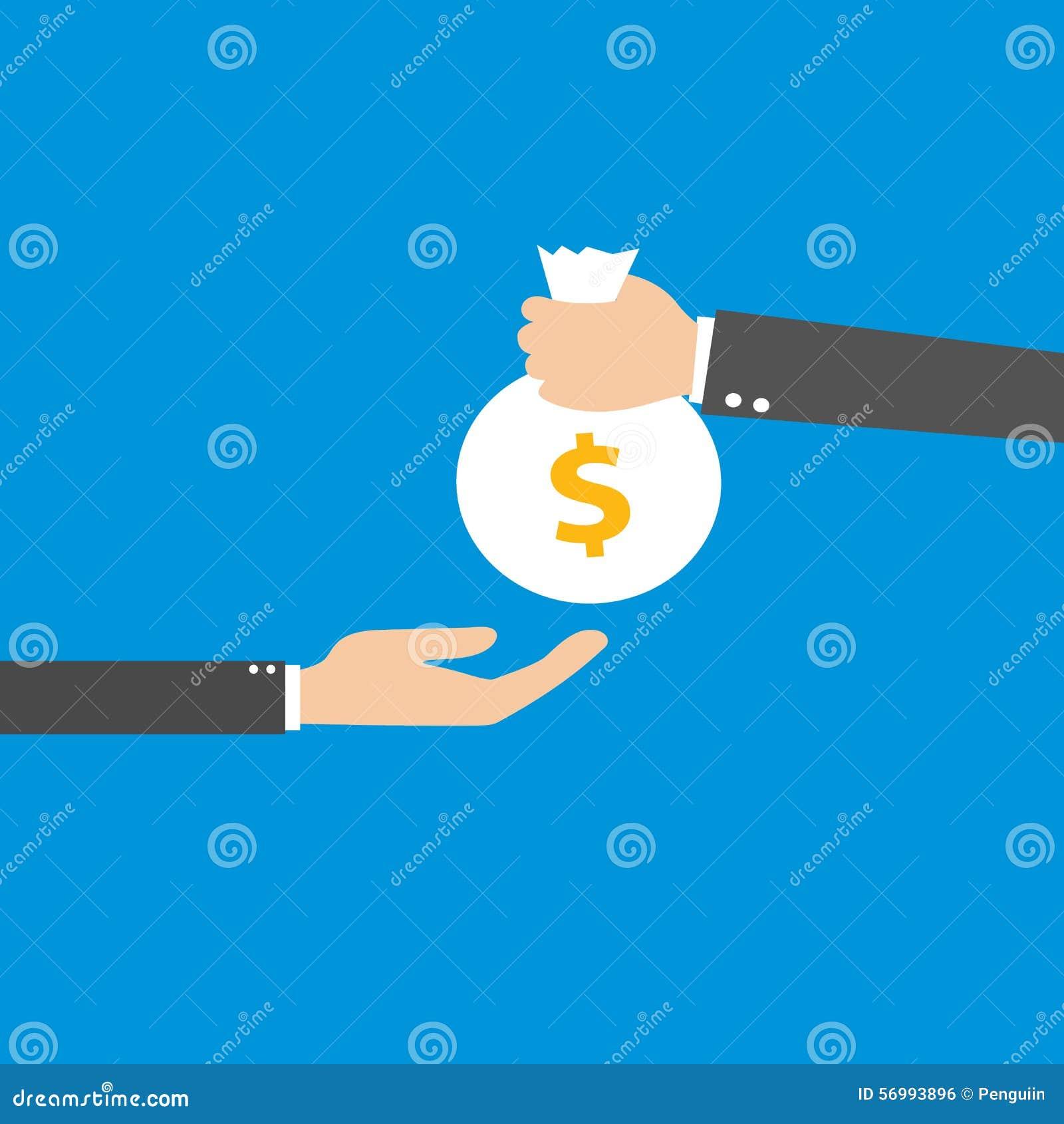 Vector l illustrazione della mano che dà la borsa con soldi ad un uomo d affari Progettazione piana