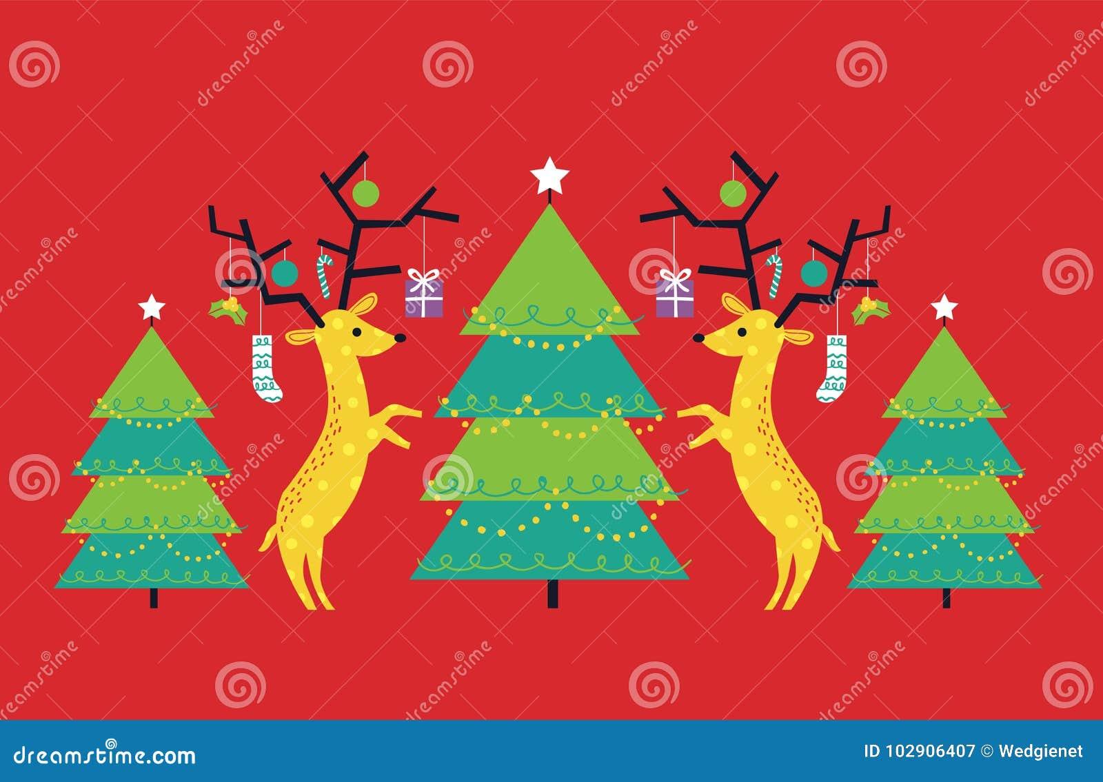 Vector l illustrazione della renna e degli alberi di Natale geometrici e piani contro fondo rosso