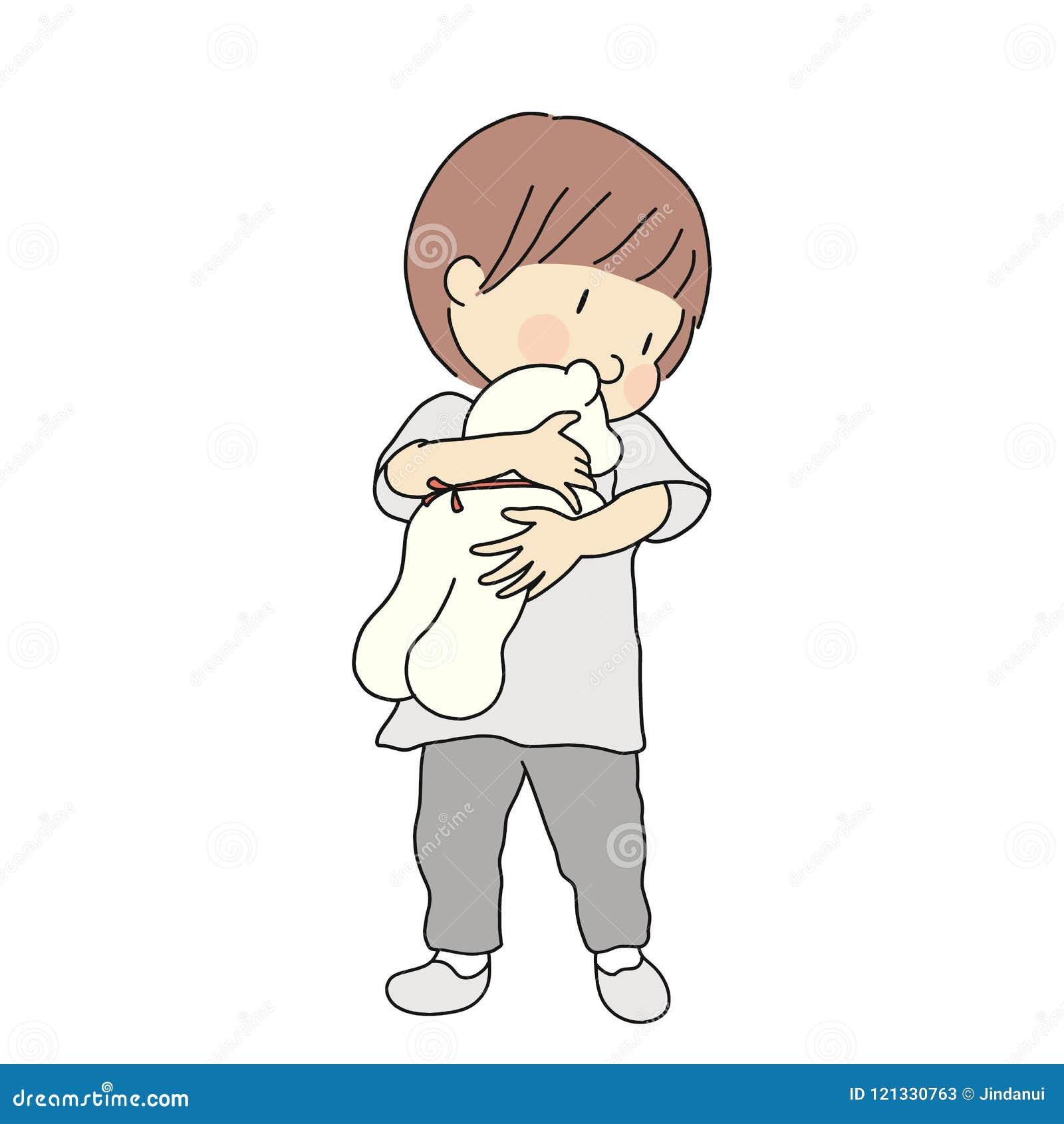 Vector l illustrazione della tenuta e di abbracciare del bambino la bambola dell orsacchiotto Sviluppo di prima infanzia, bambino