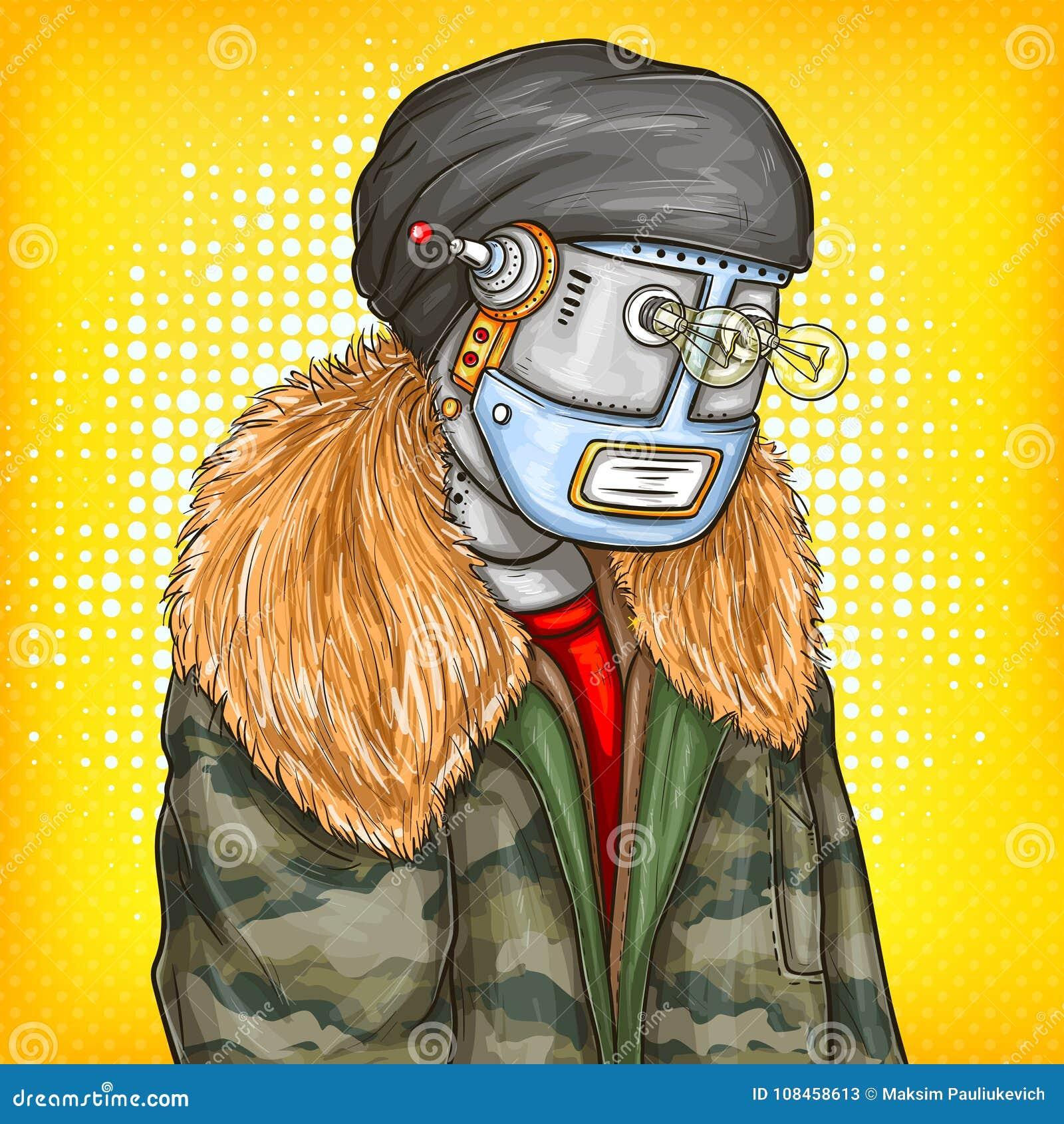 Vector l illustrazione di Pop art del robot, androide in rivestimento di modo Intelligenza artificiale, steampunk, concetto del c