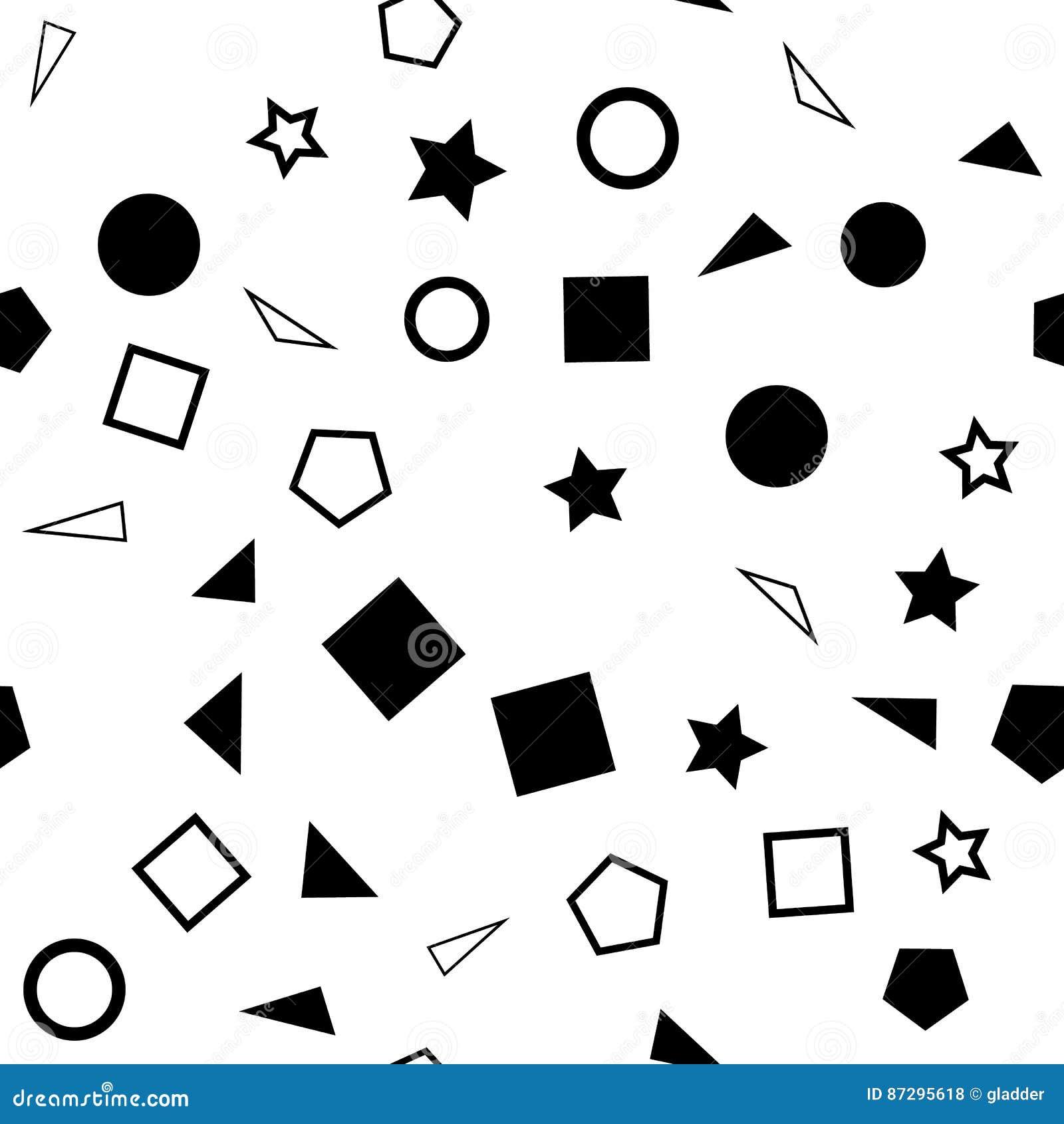 Vector l illustrazione di un modello senza cuciture delle forme semplici in bianco e nero - quadrati, triangoli, cerchi e stelle