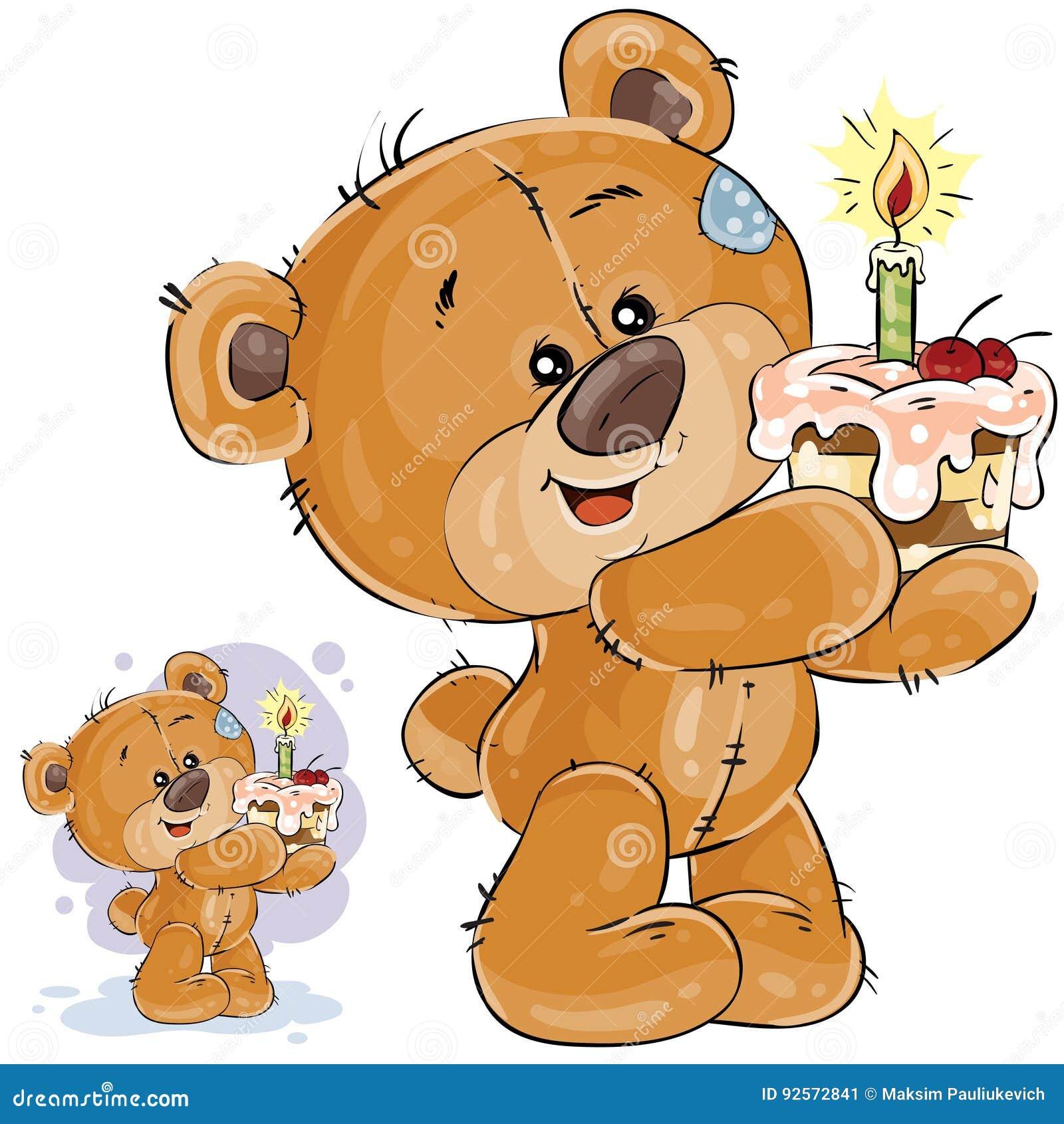Vector l illustrazione di un orsacchiotto marrone che tiene un dolce con una candela in sue zampe